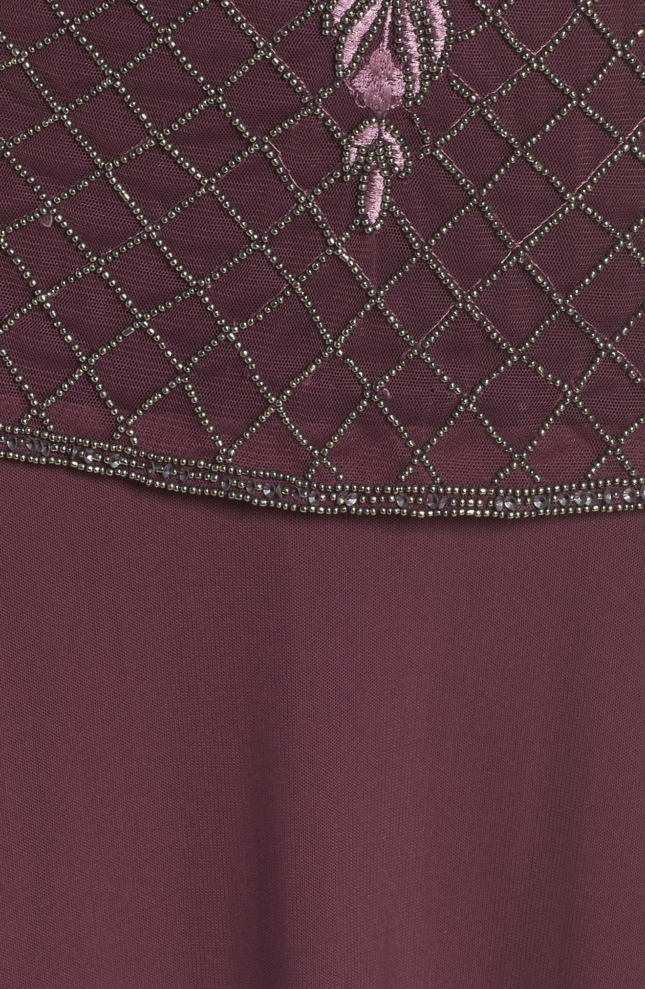 Beaded Bodice Mock Two-Piece Gown,                             Alternate thumbnail 5, color,                             Plum
