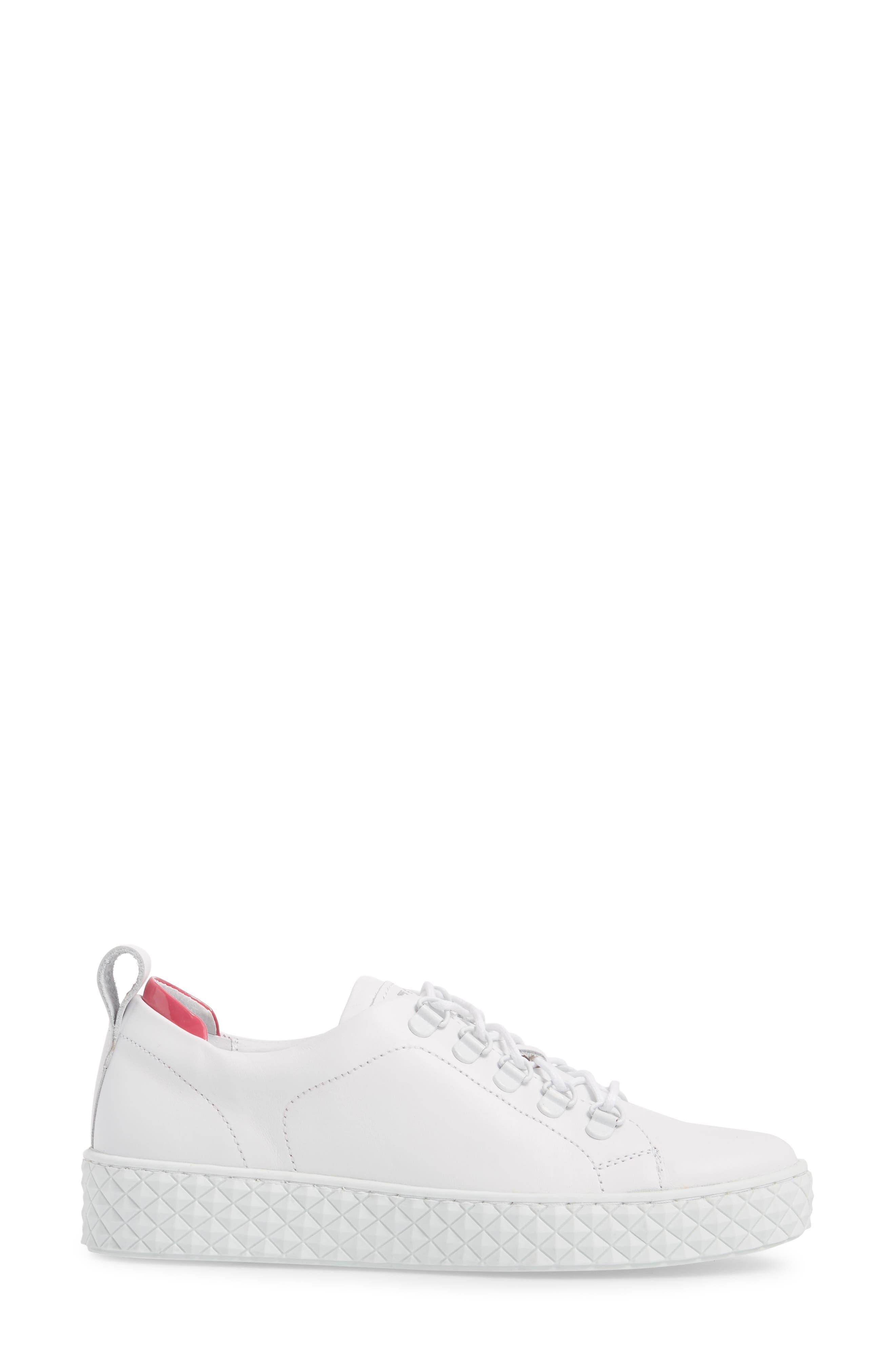 Sol Sneaker,                             Alternate thumbnail 3, color,                             Optic White/ Fuchsia Leather