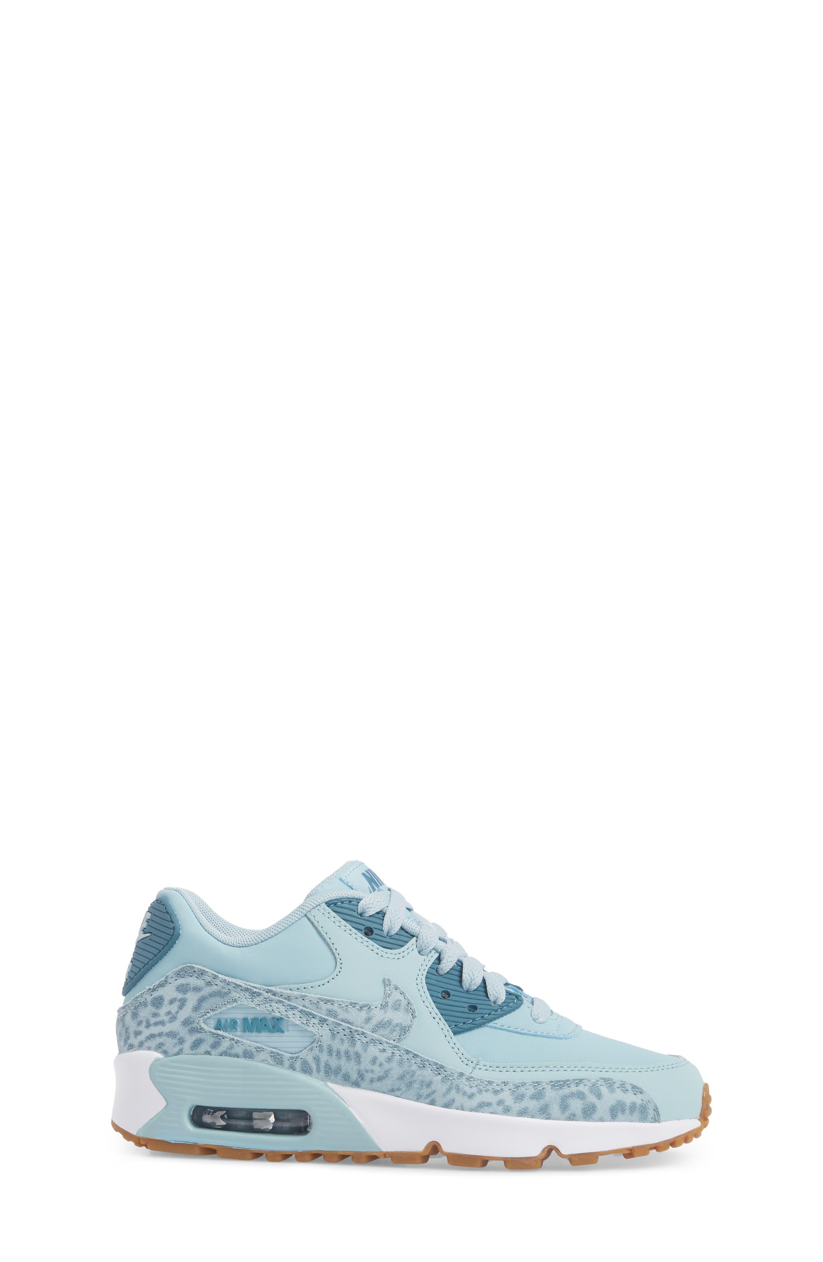 Air Max 90 Leather Sneaker,                             Alternate thumbnail 3, color,                             Ocean Bliss/ Noise Aqua/ White