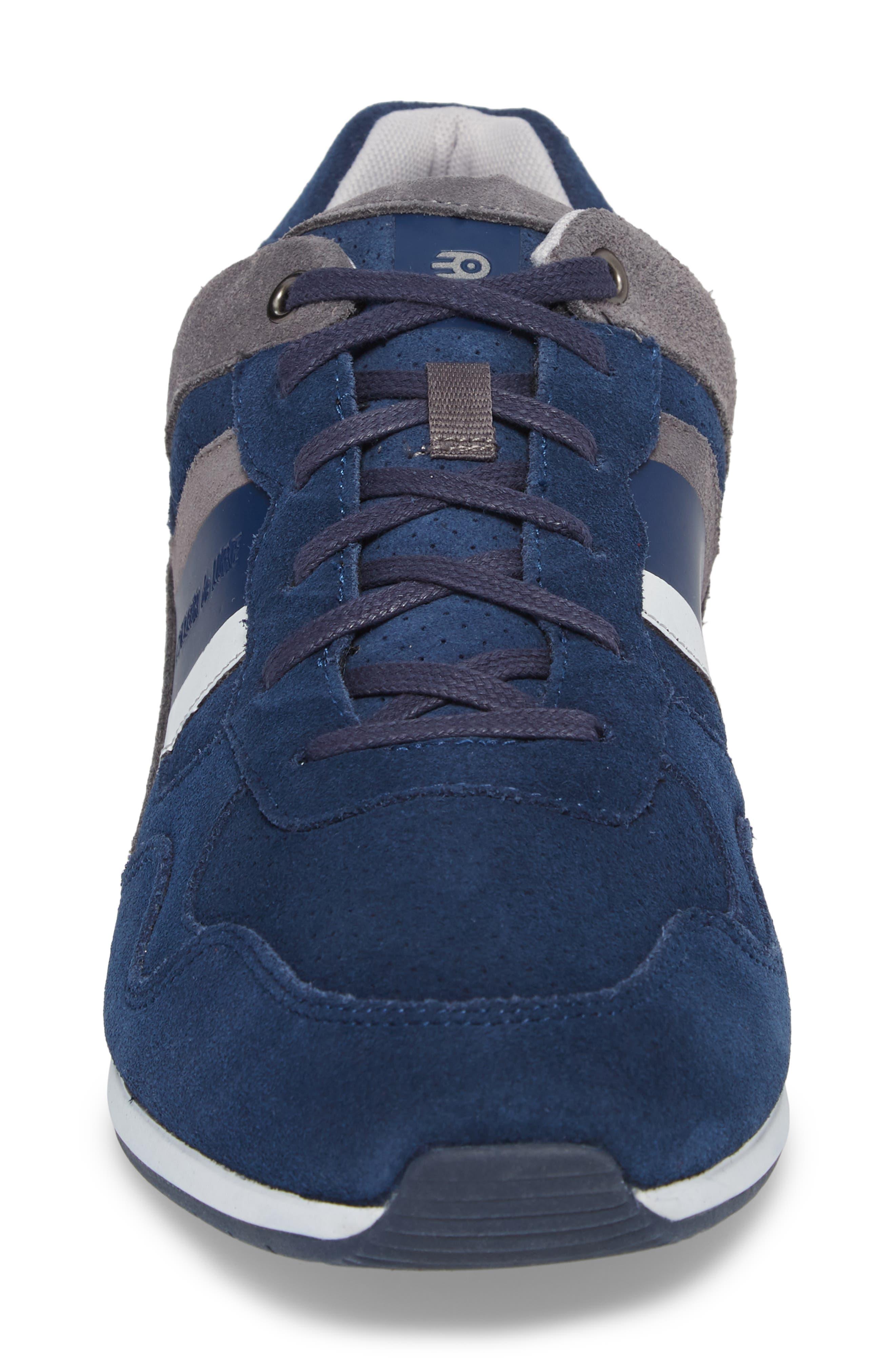 Scarpo Low Top Sneaker,                             Alternate thumbnail 4, color,                             Navy Suede