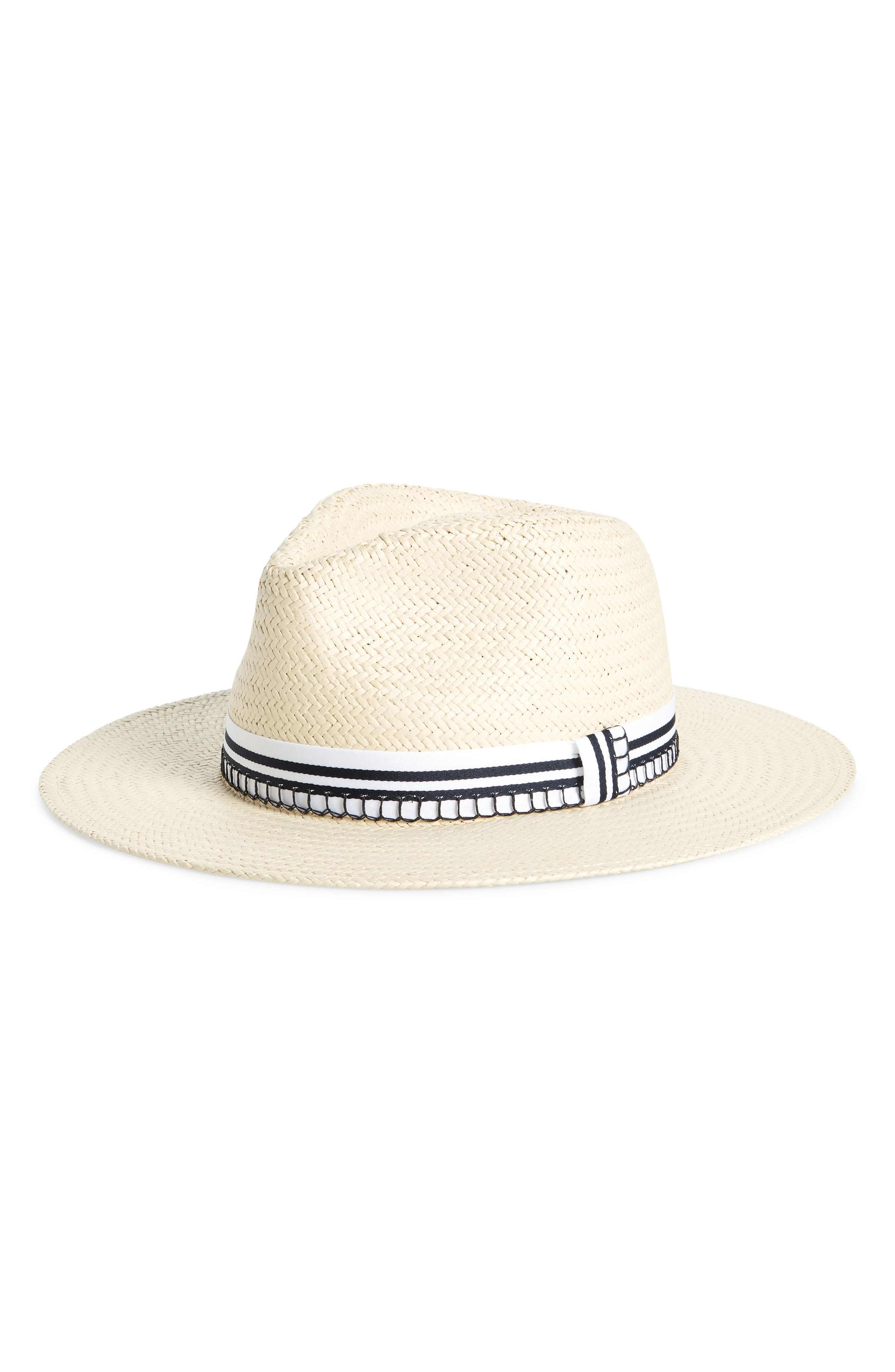 Packable Straw Fedora,                         Main,                         color, Natural