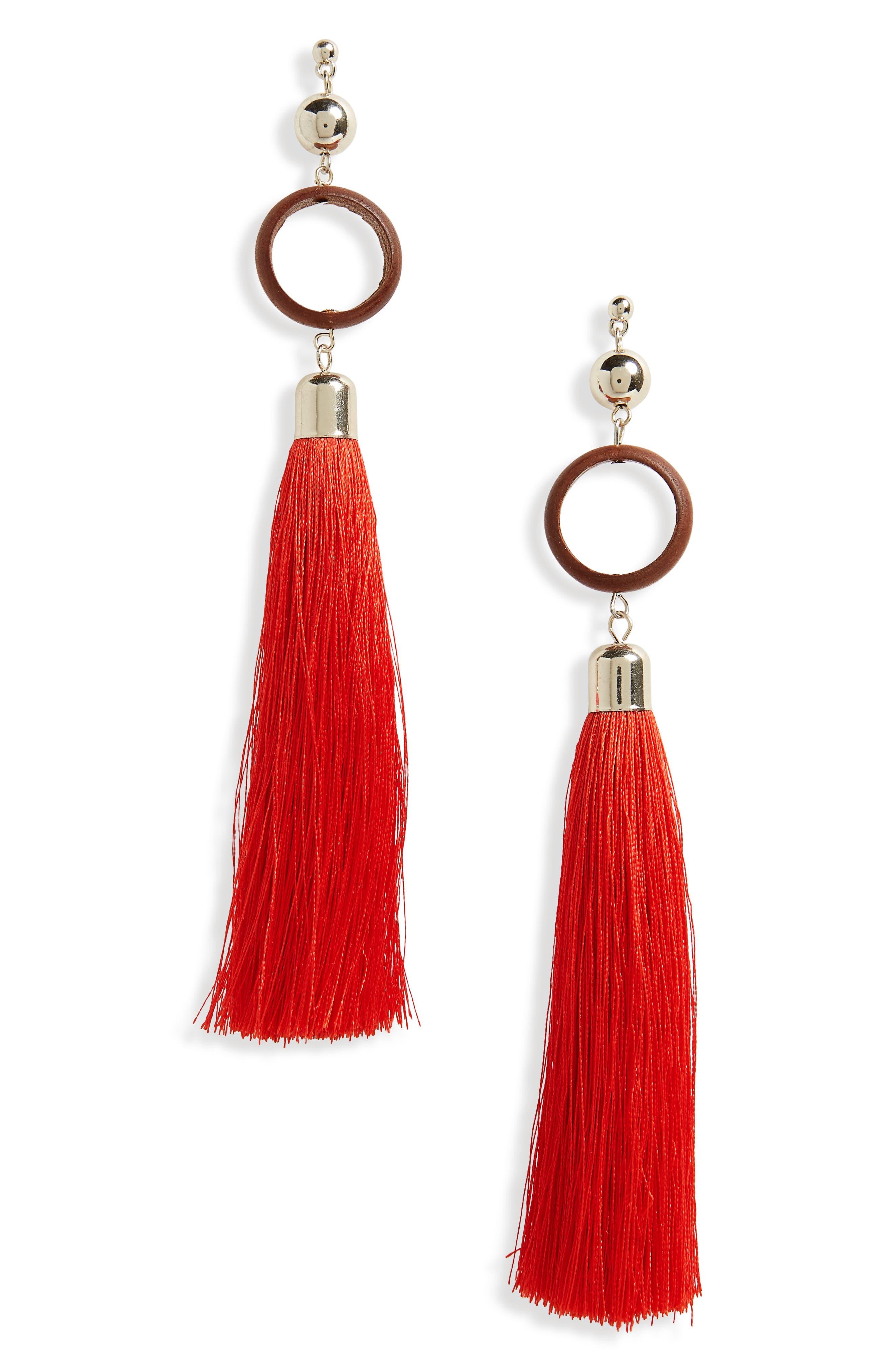 Wood Circle Tassel Earrings,                         Main,                         color, Red