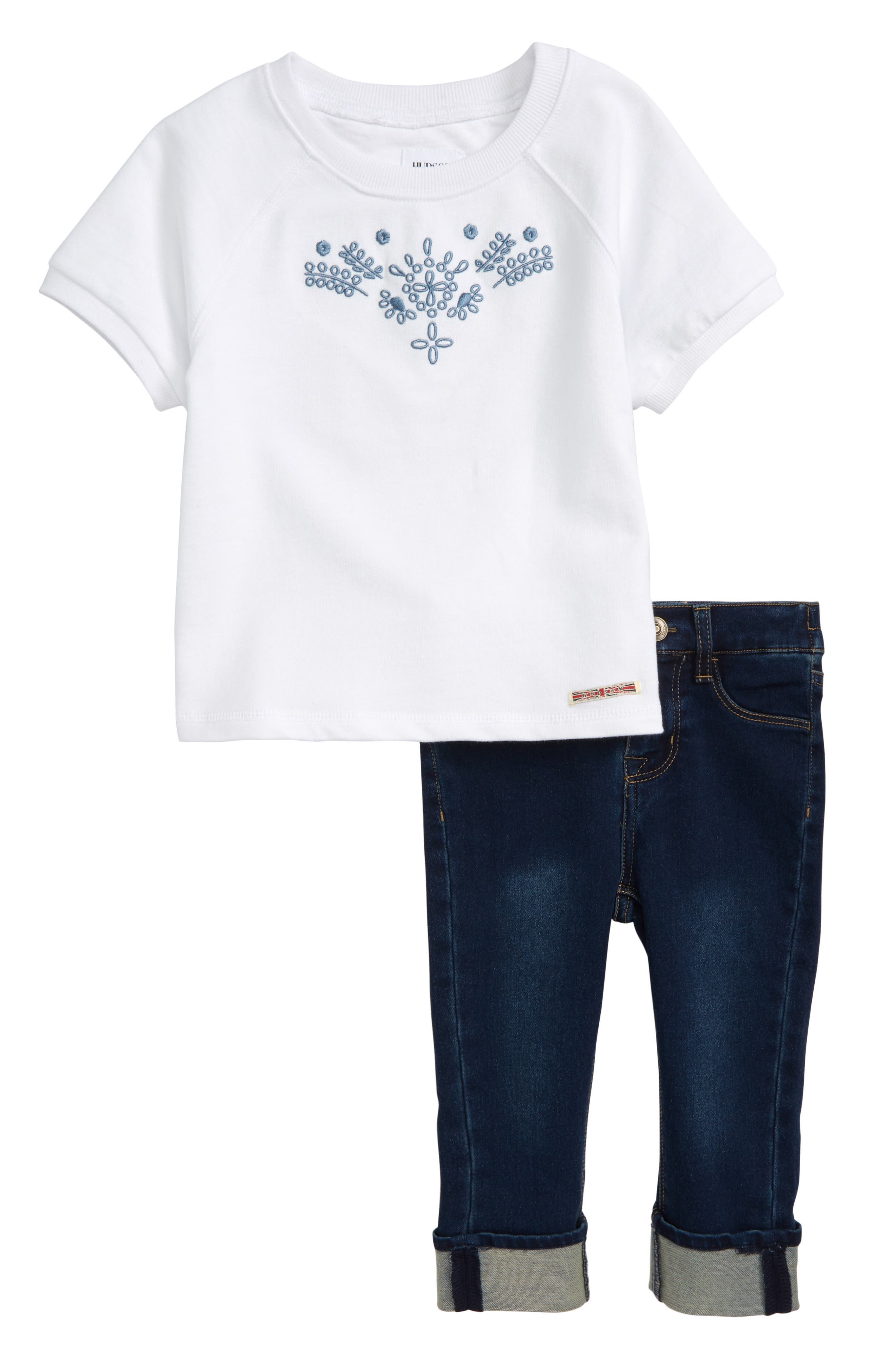 Embroidered Top & Jeans Set,                             Main thumbnail 1, color,                             Indigo Vintage Wash