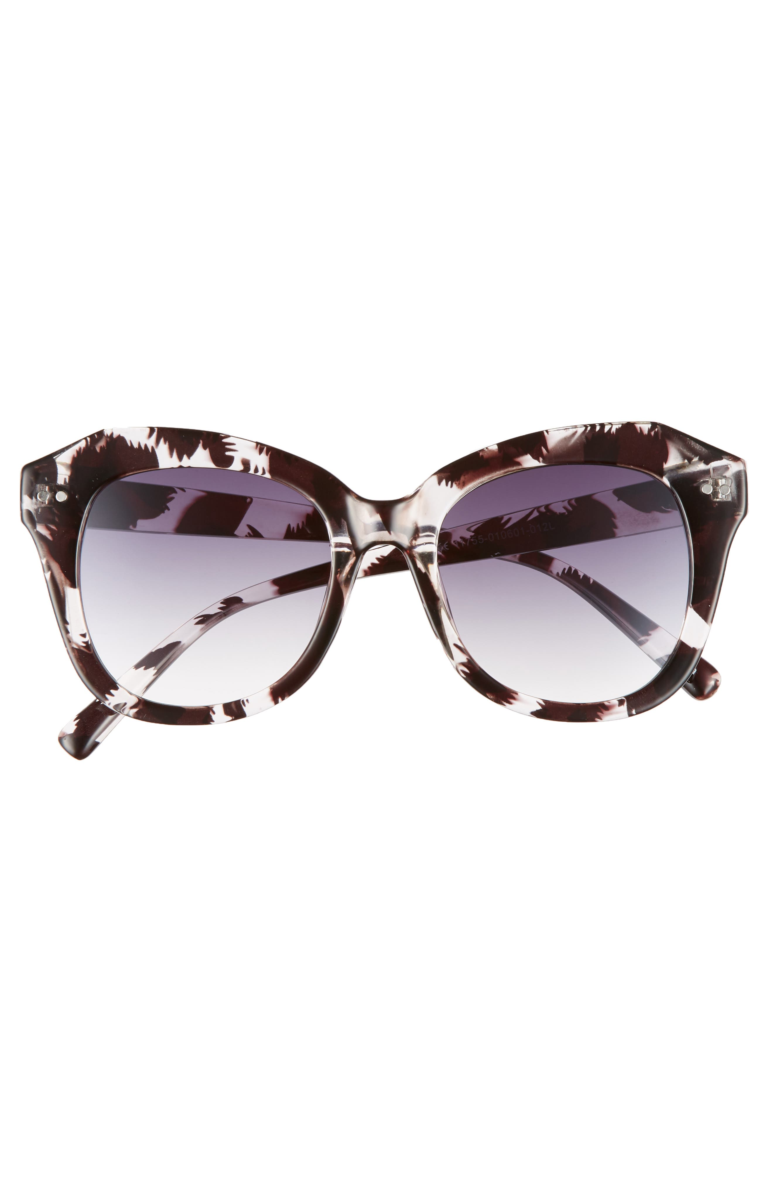 Marbled Square Sunglasses,                             Alternate thumbnail 3, color,                             Black/ Clear