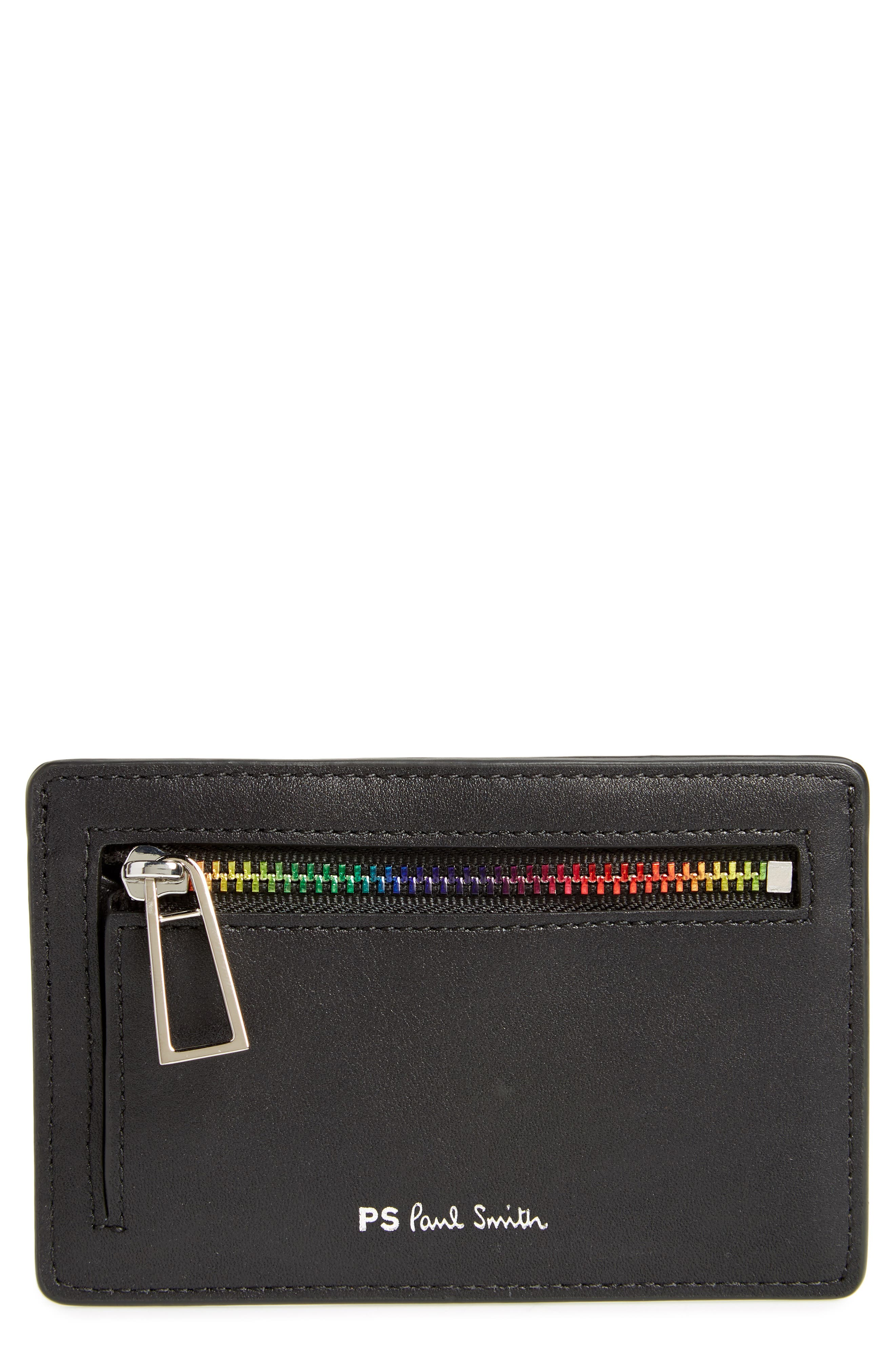 Leather Card Holder,                             Main thumbnail 1, color,                             Black