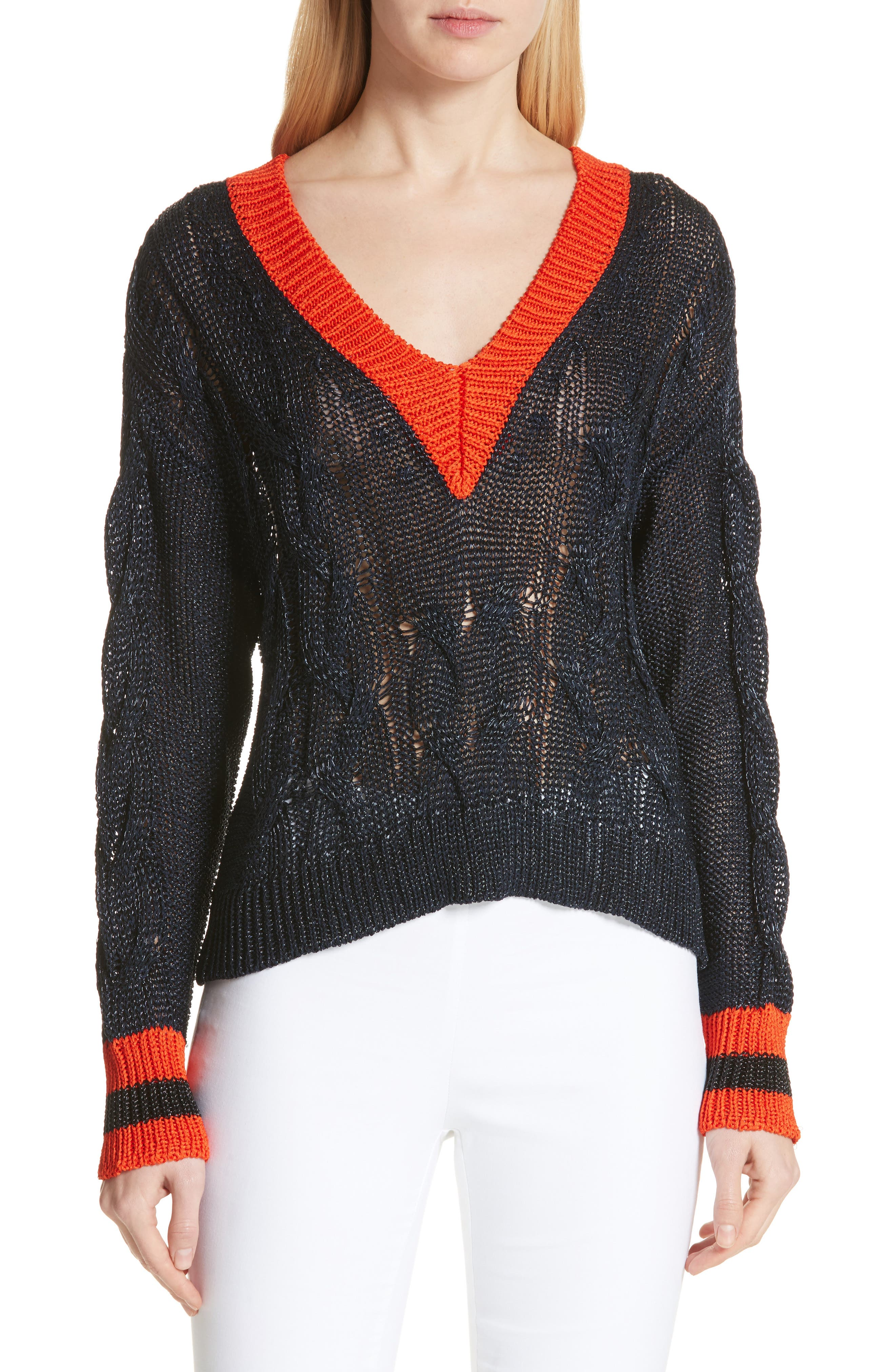 Emma Cable Knit Sweater,                             Main thumbnail 1, color,                             Navy