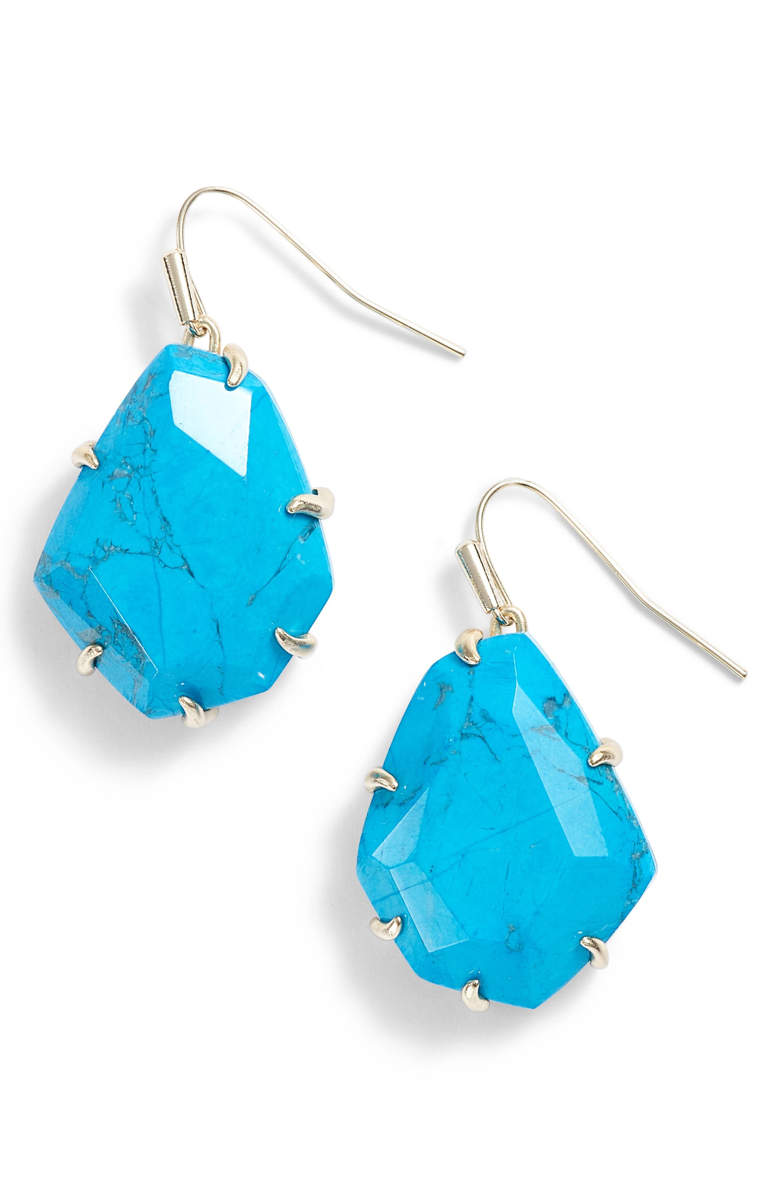 Rosenell Stone Earrings,                         Main,                         color, Aqua Howlite/ Gold