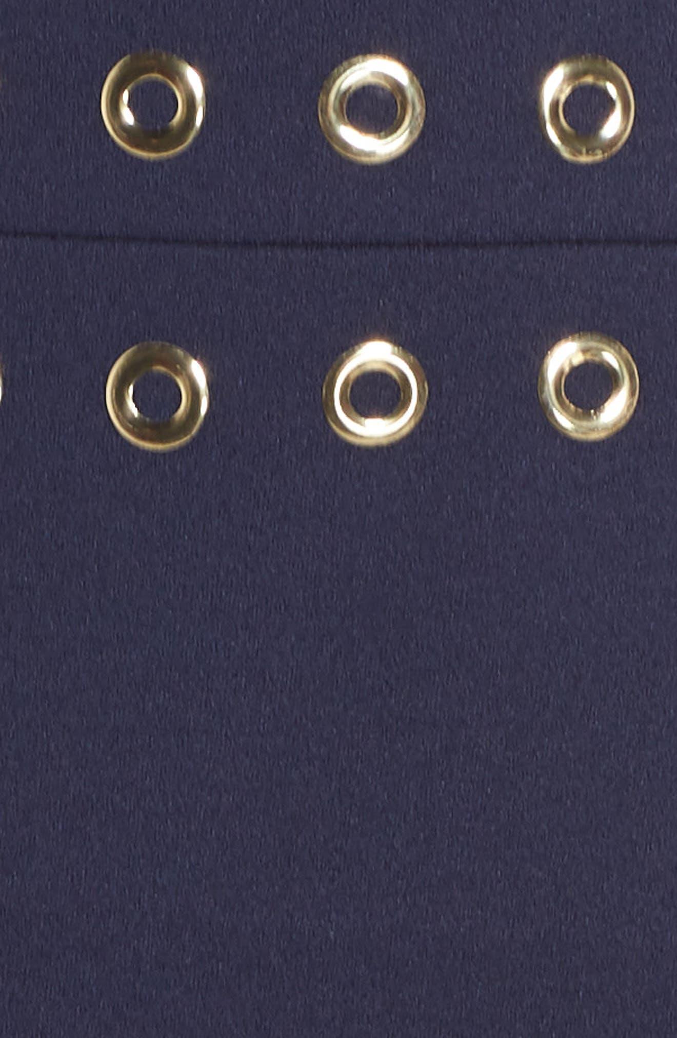 Grommet Trim Scallop Hem Sheath Dress,                             Alternate thumbnail 5, color,                             True Navy