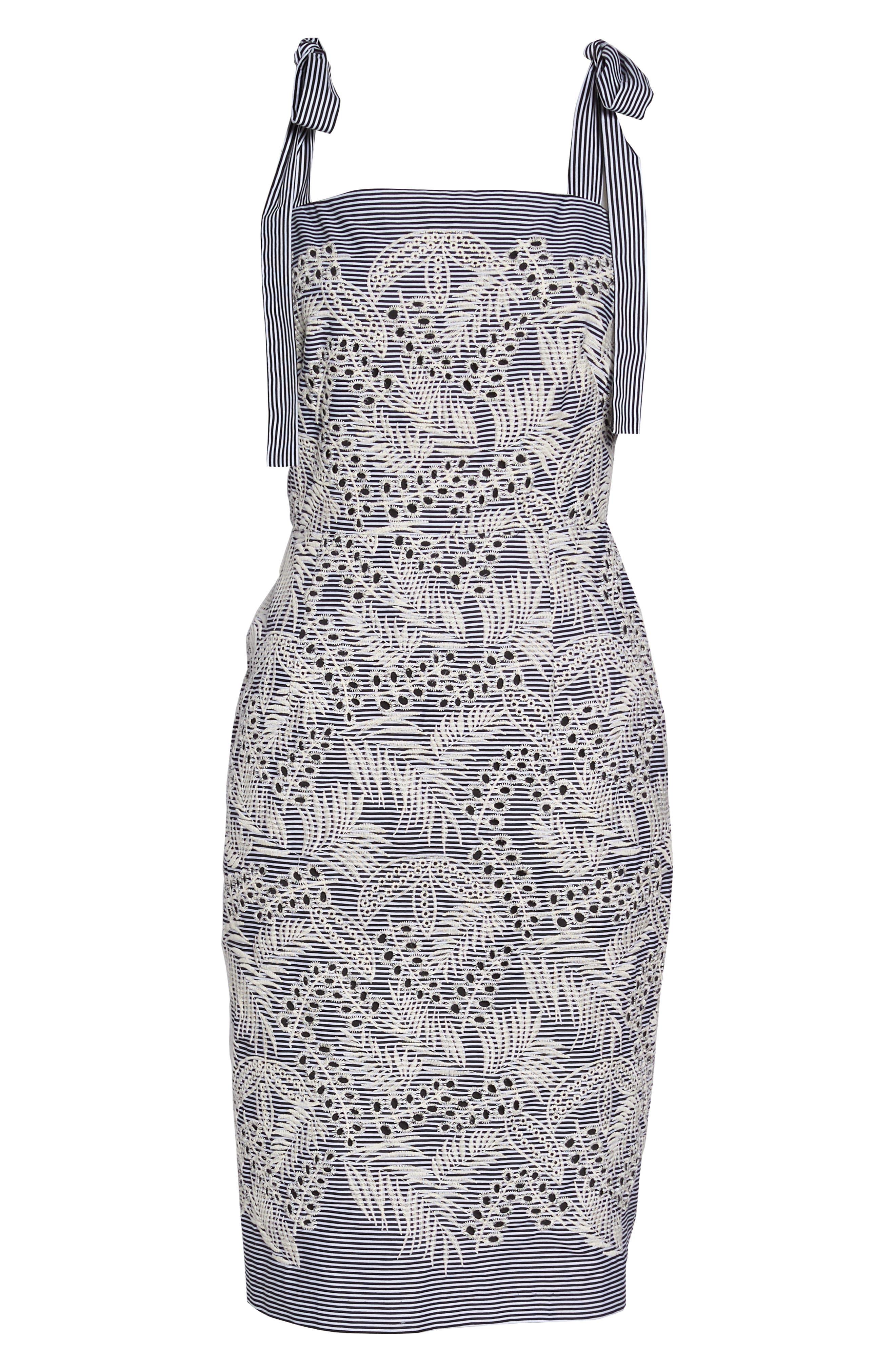Tie Shoulder Sheath Dress,                             Alternate thumbnail 7, color,                             Black/ Natural