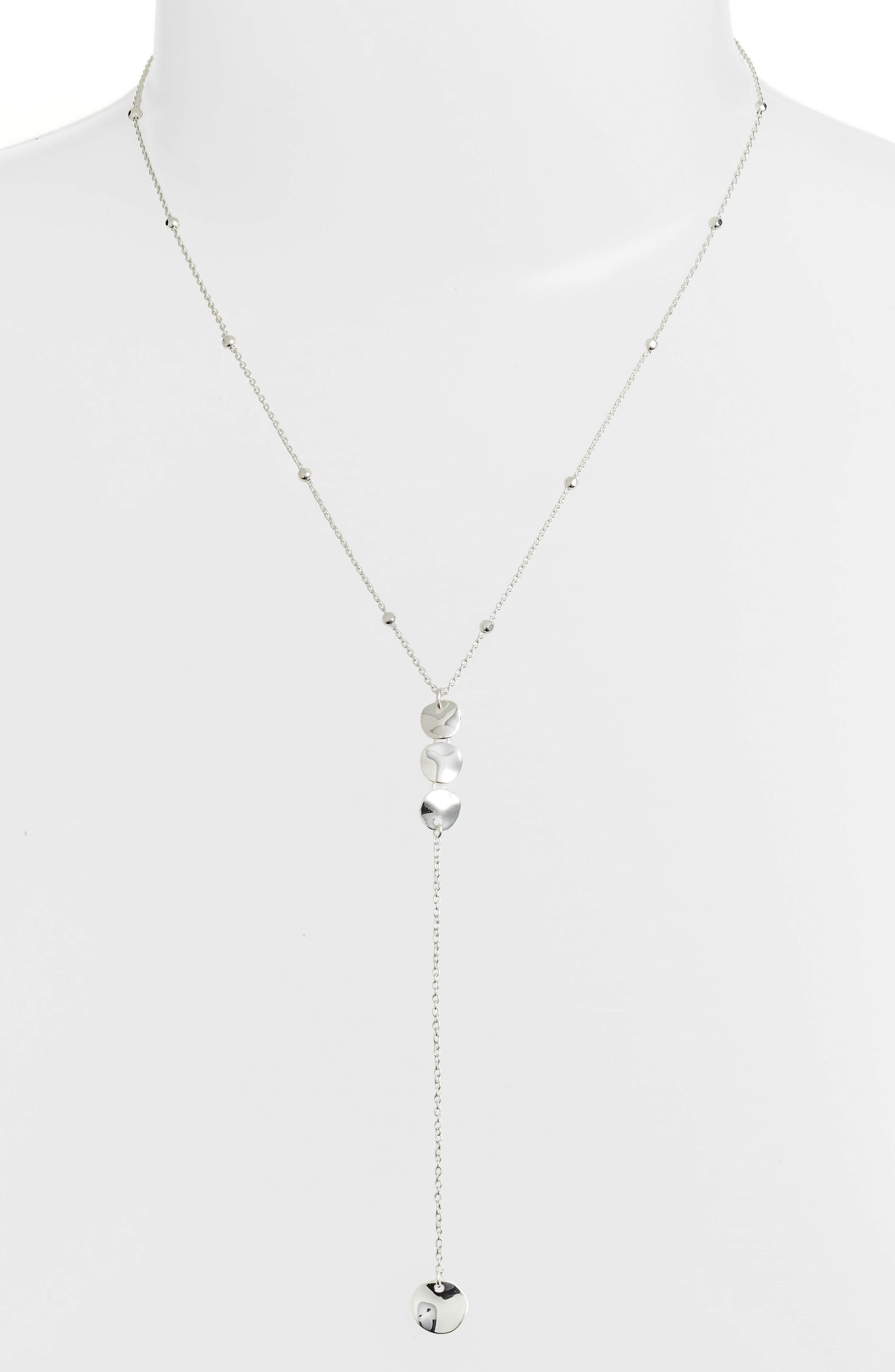 Flat Disc Y-Necklace,                             Main thumbnail 1, color,                             Silver