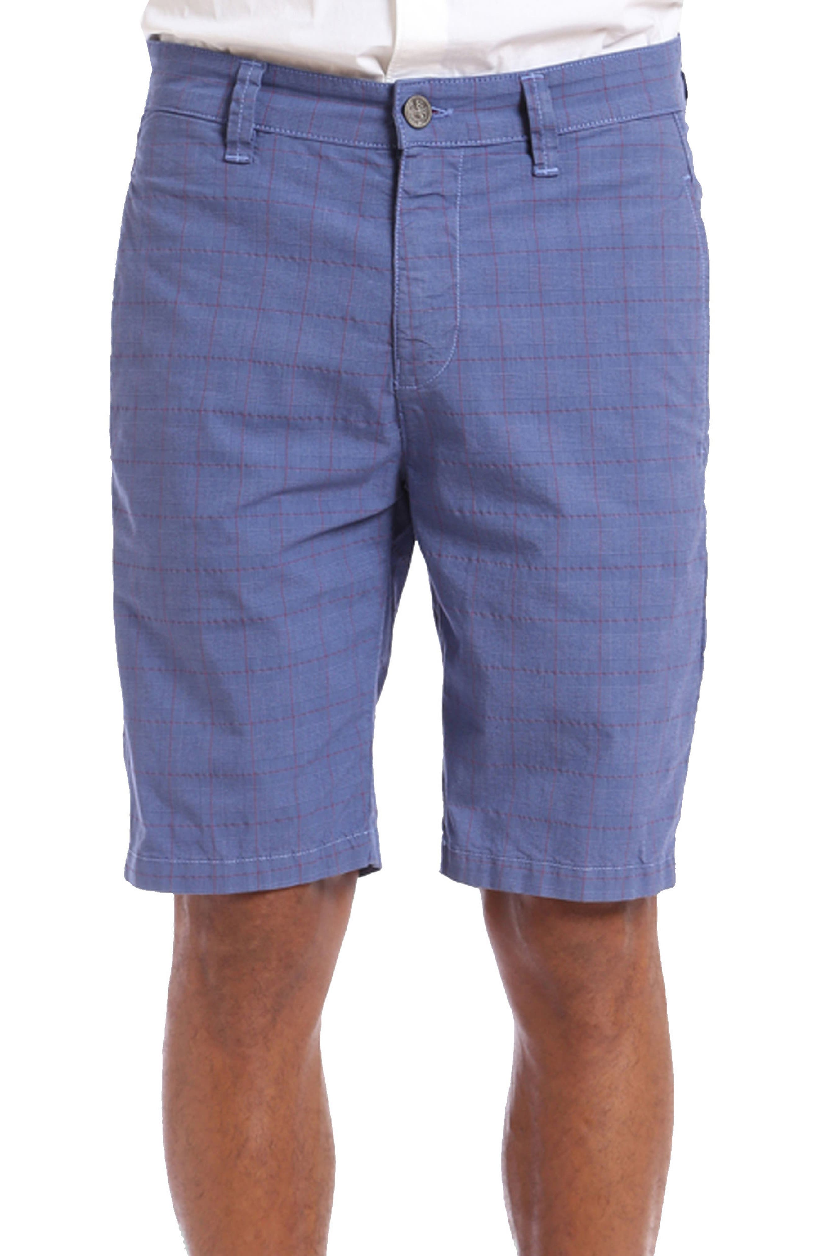 Nevada Twill Shorts,                             Main thumbnail 1, color,                             Indigo Plaid