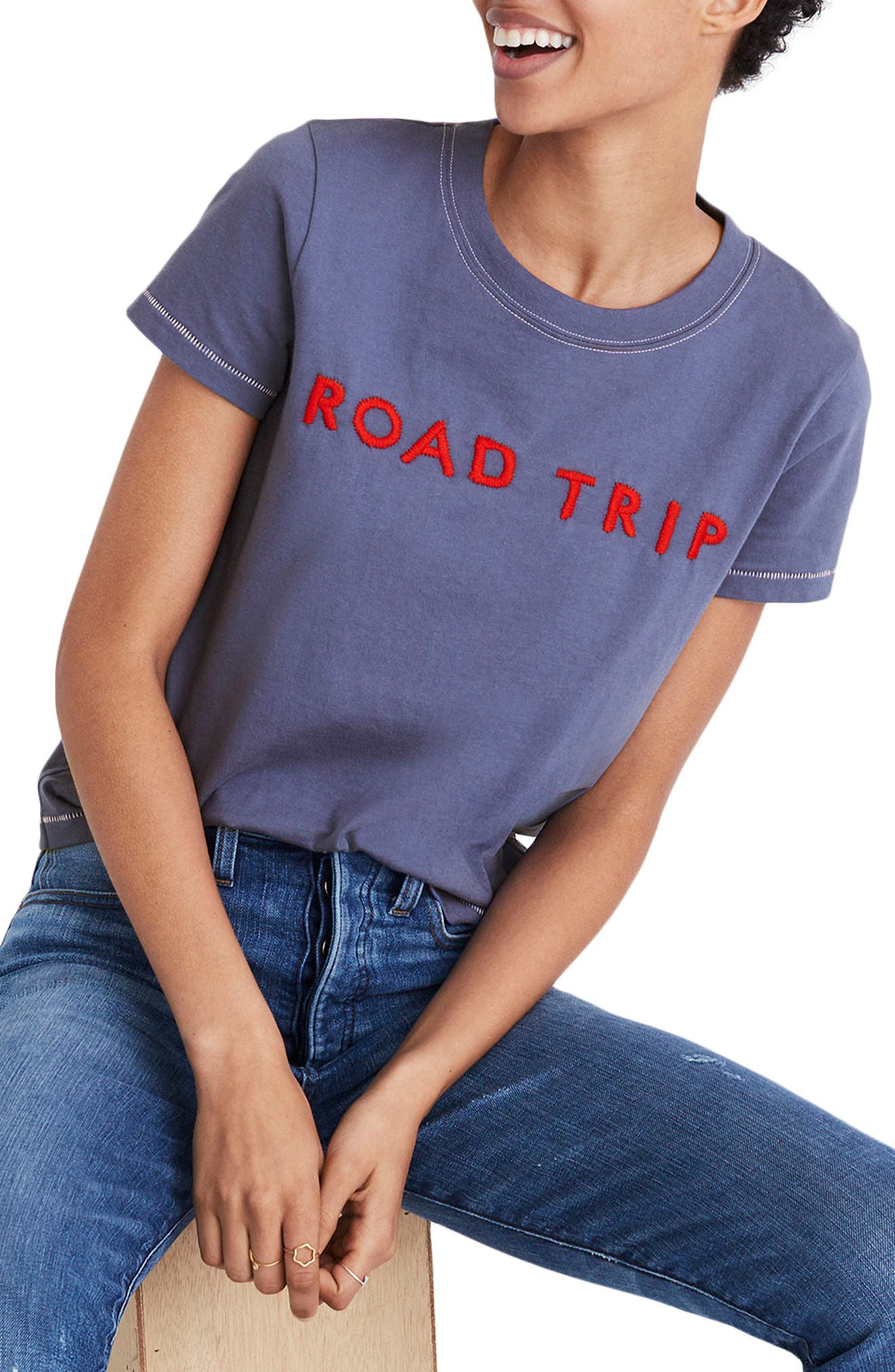Embroidered Road Trip Tee,                         Main,                         color, Dusty Twilight