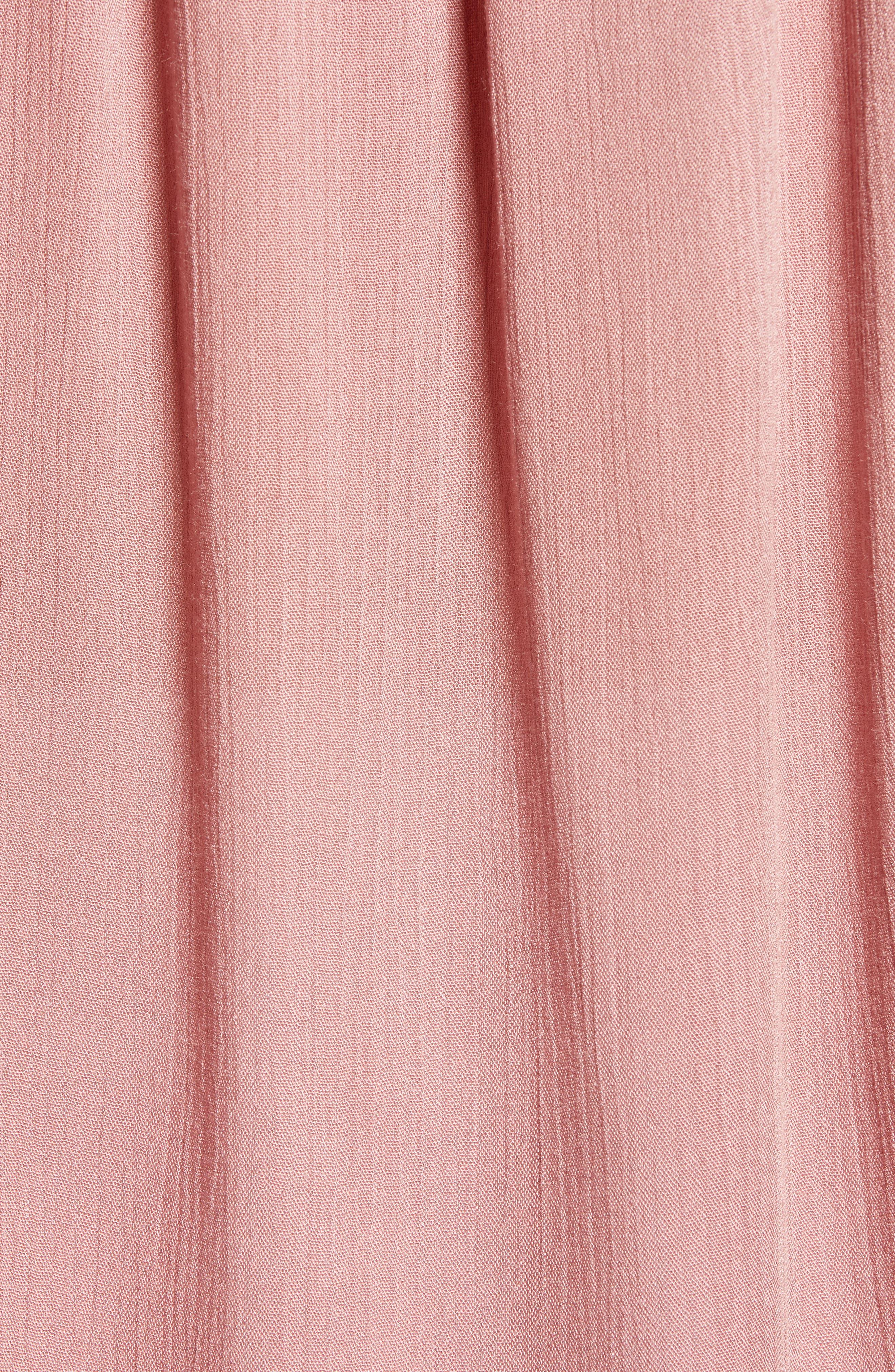 Relaxed Short Sleeve Crinkle Blouse,                             Alternate thumbnail 6, color,                             Mauve/ Terracotta