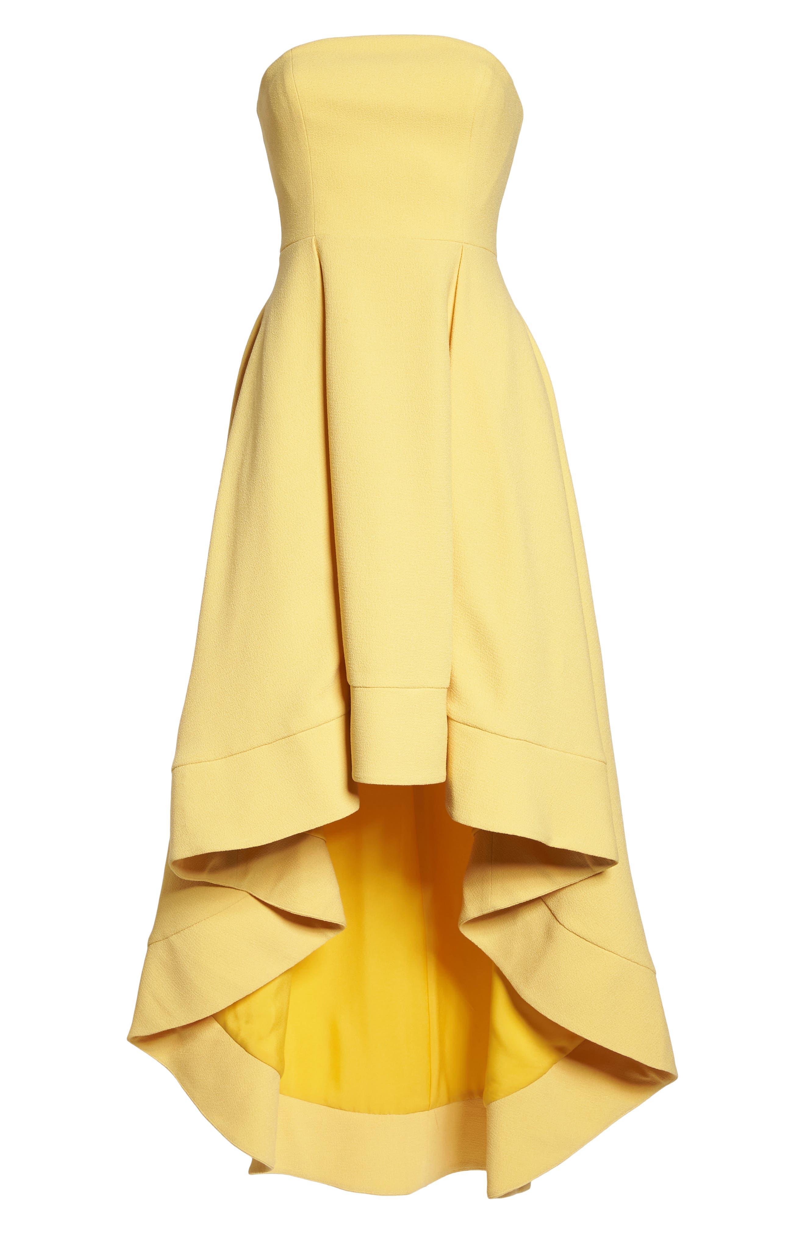 Entice Strapless Crepe Gown,                             Alternate thumbnail 6, color,                             Honey