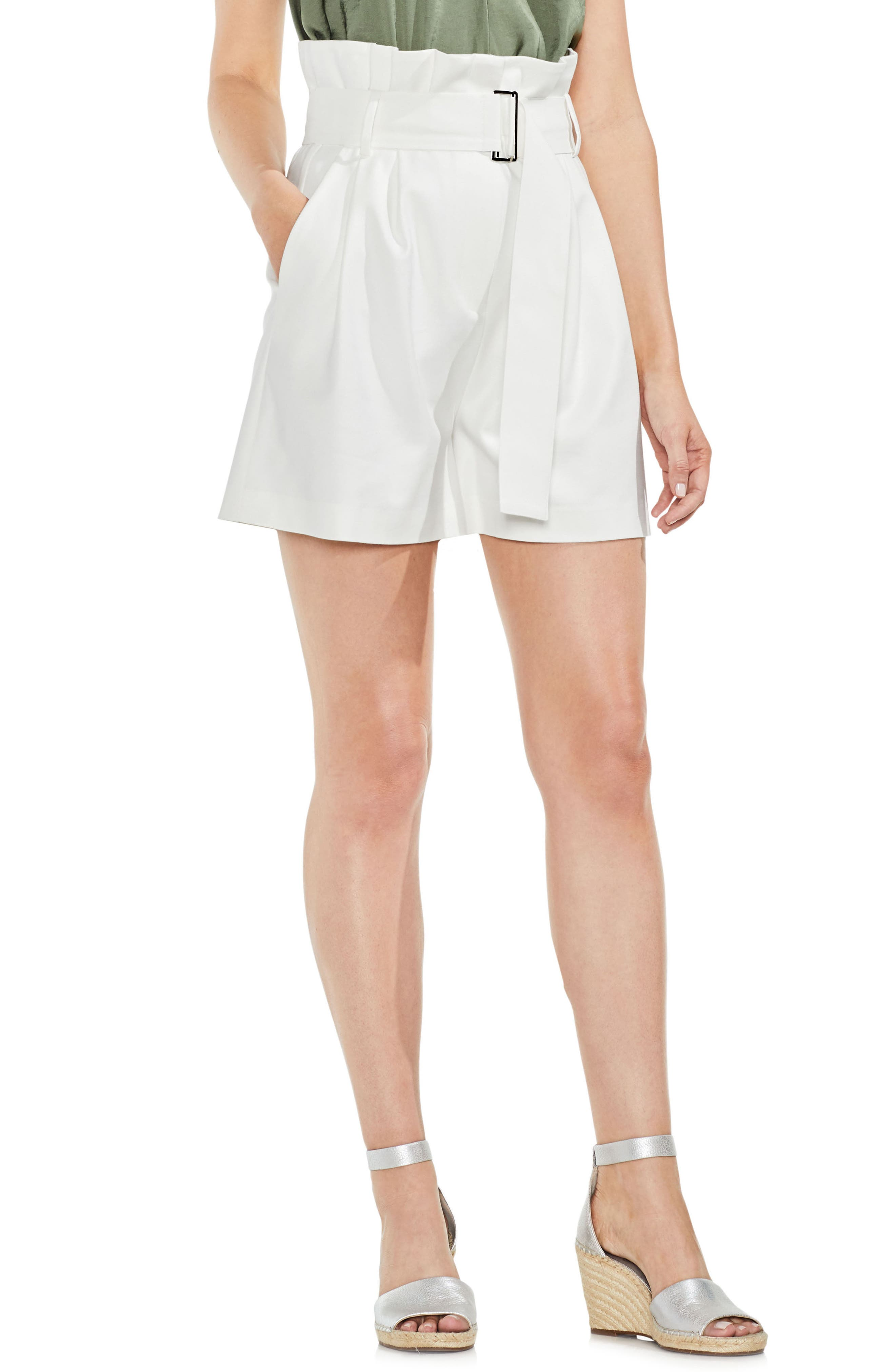 Belted High Waist Shorts,                         Main,                         color, New Ivory