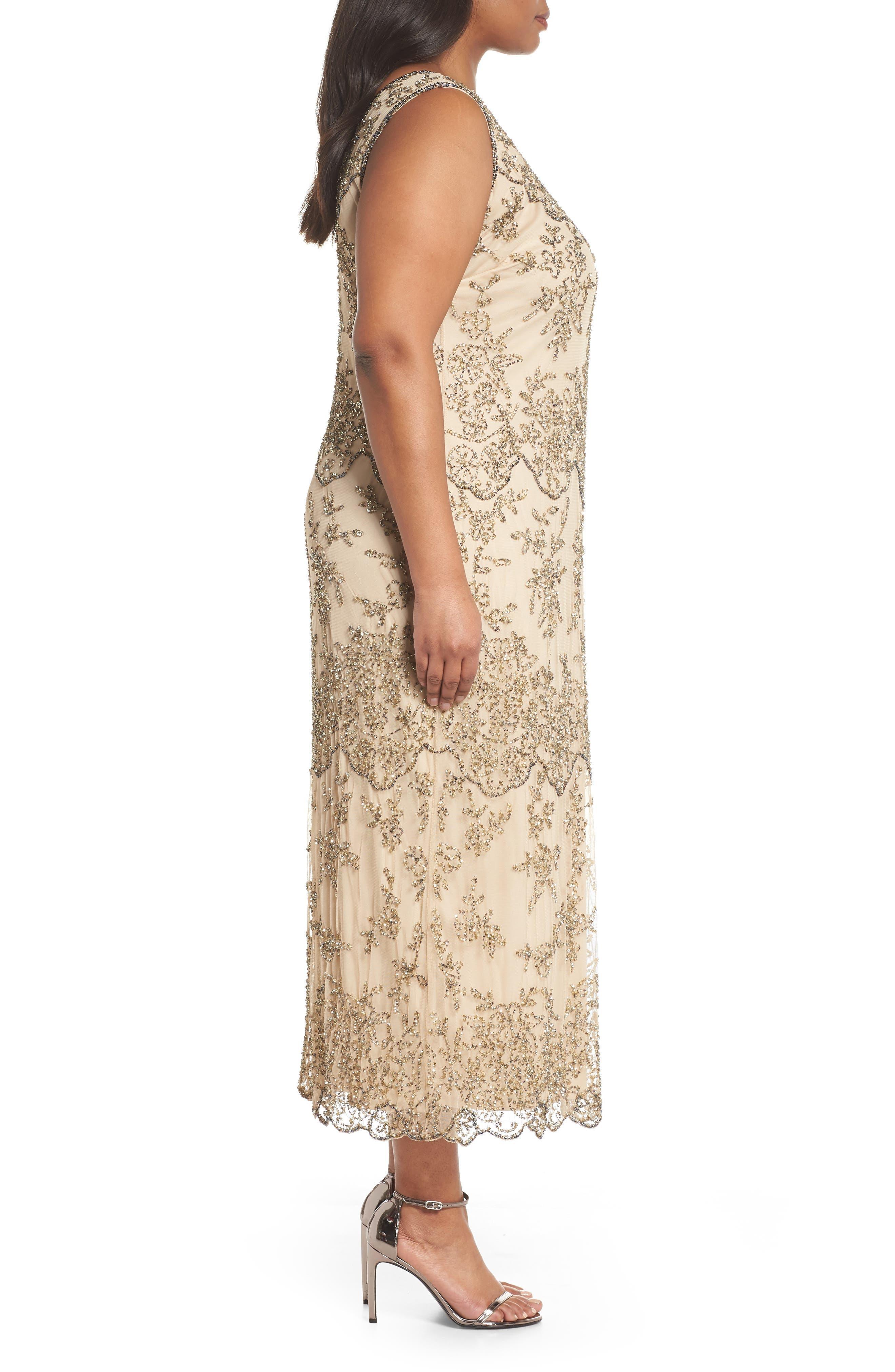Embellished Bateau Neck Long Dress,                             Alternate thumbnail 3, color,                             Champagne