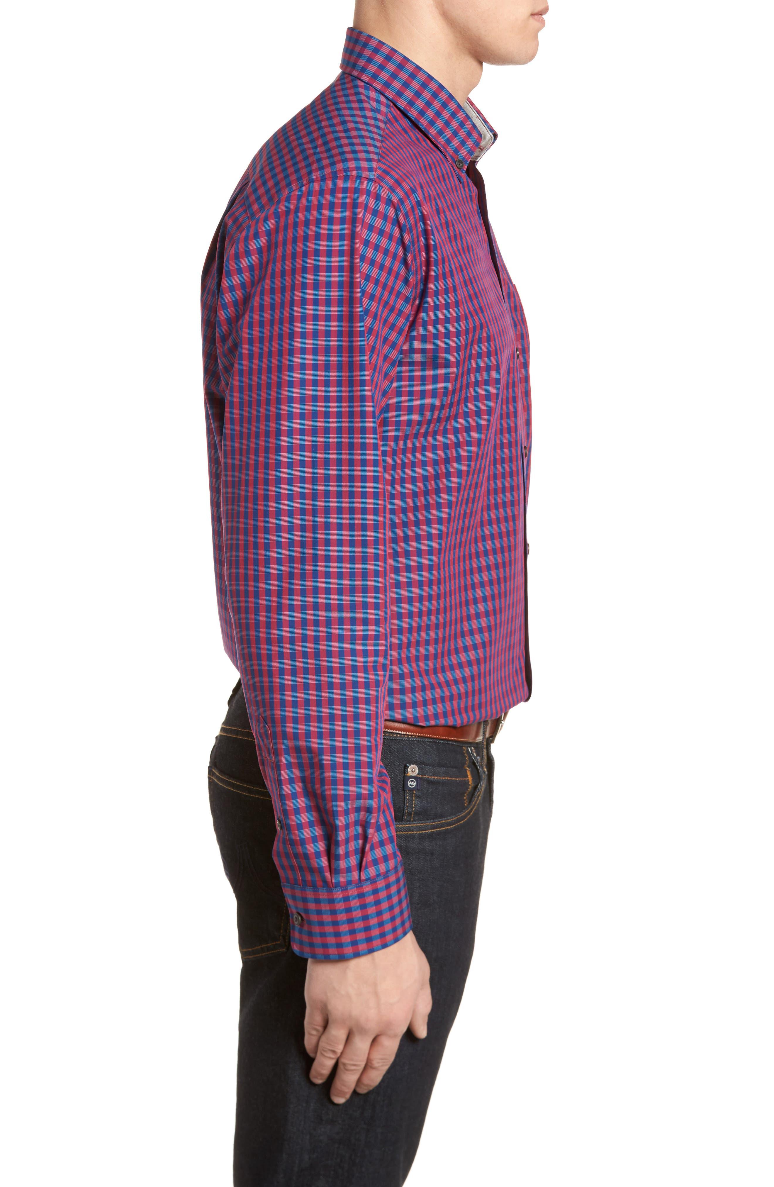 Myles Classic Fit Non-Iron Gingham Sport Shirt,                             Alternate thumbnail 3, color,                             Virtual