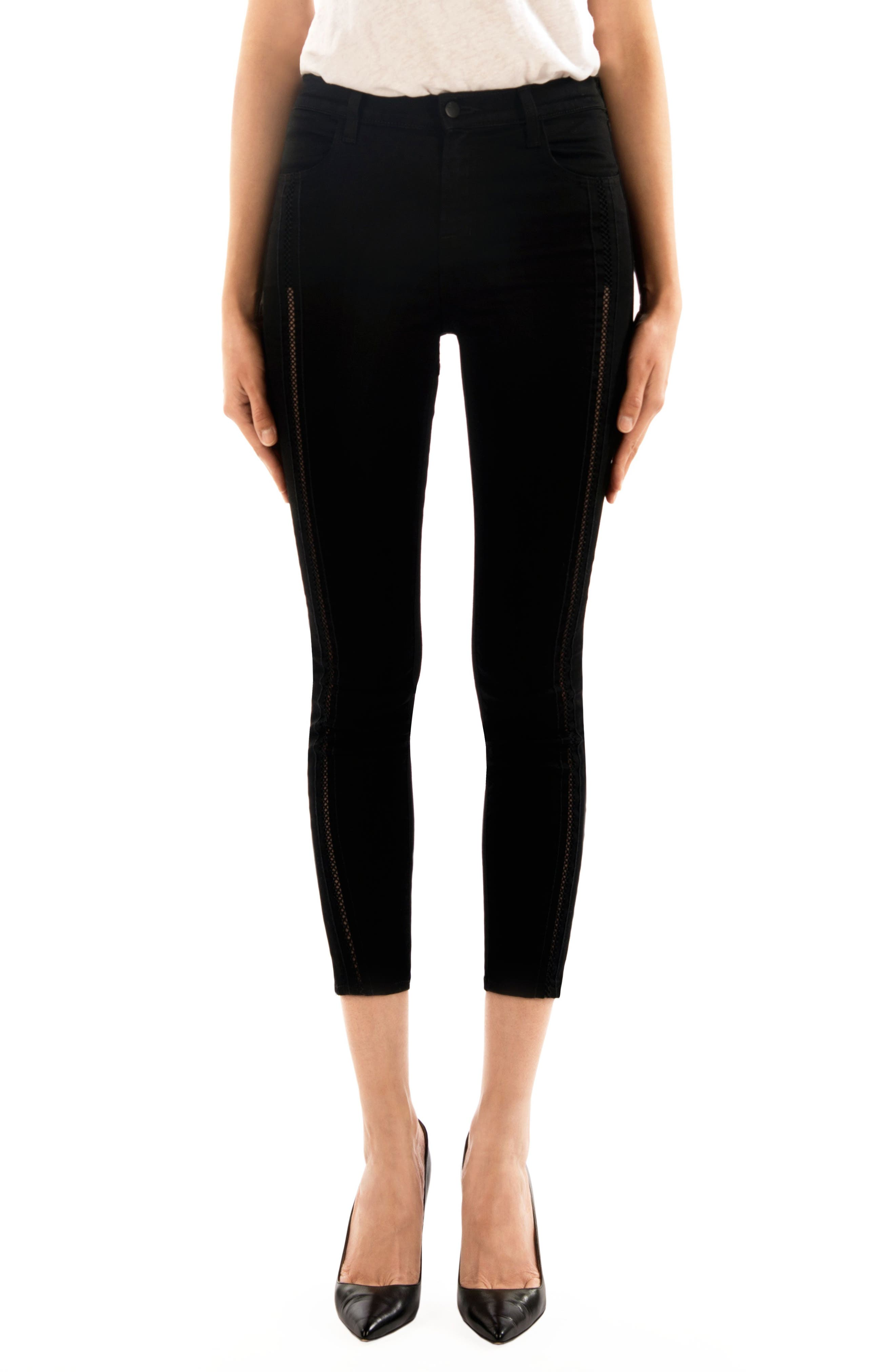 Alana High Waist Crop Skinny Jeans,                         Main,                         color, Black Ladder Lace
