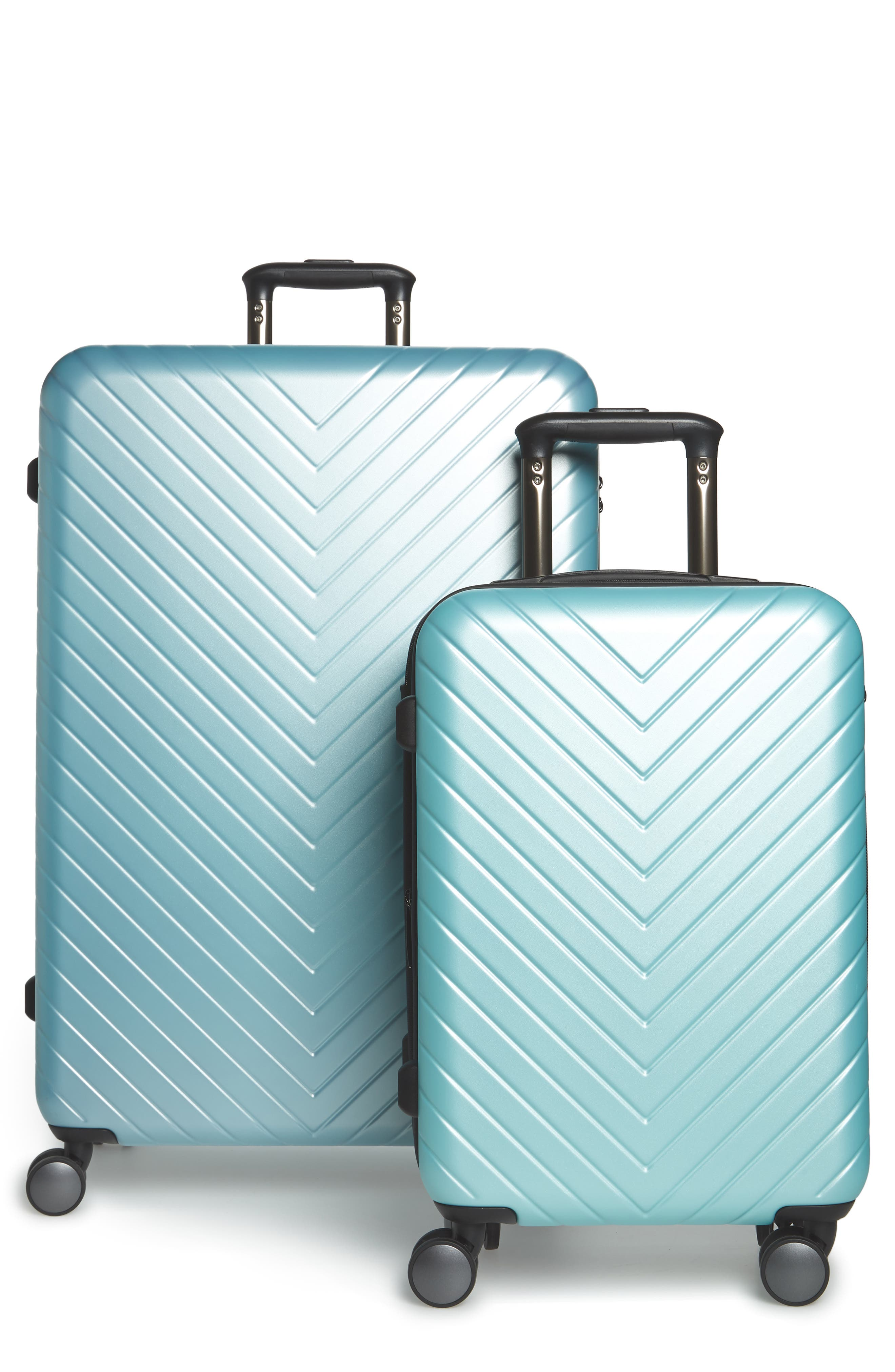 Chevron 29-Inch & 18-Inch Spinner Luggage Set,                             Main thumbnail 1, color,                             Teal Surf