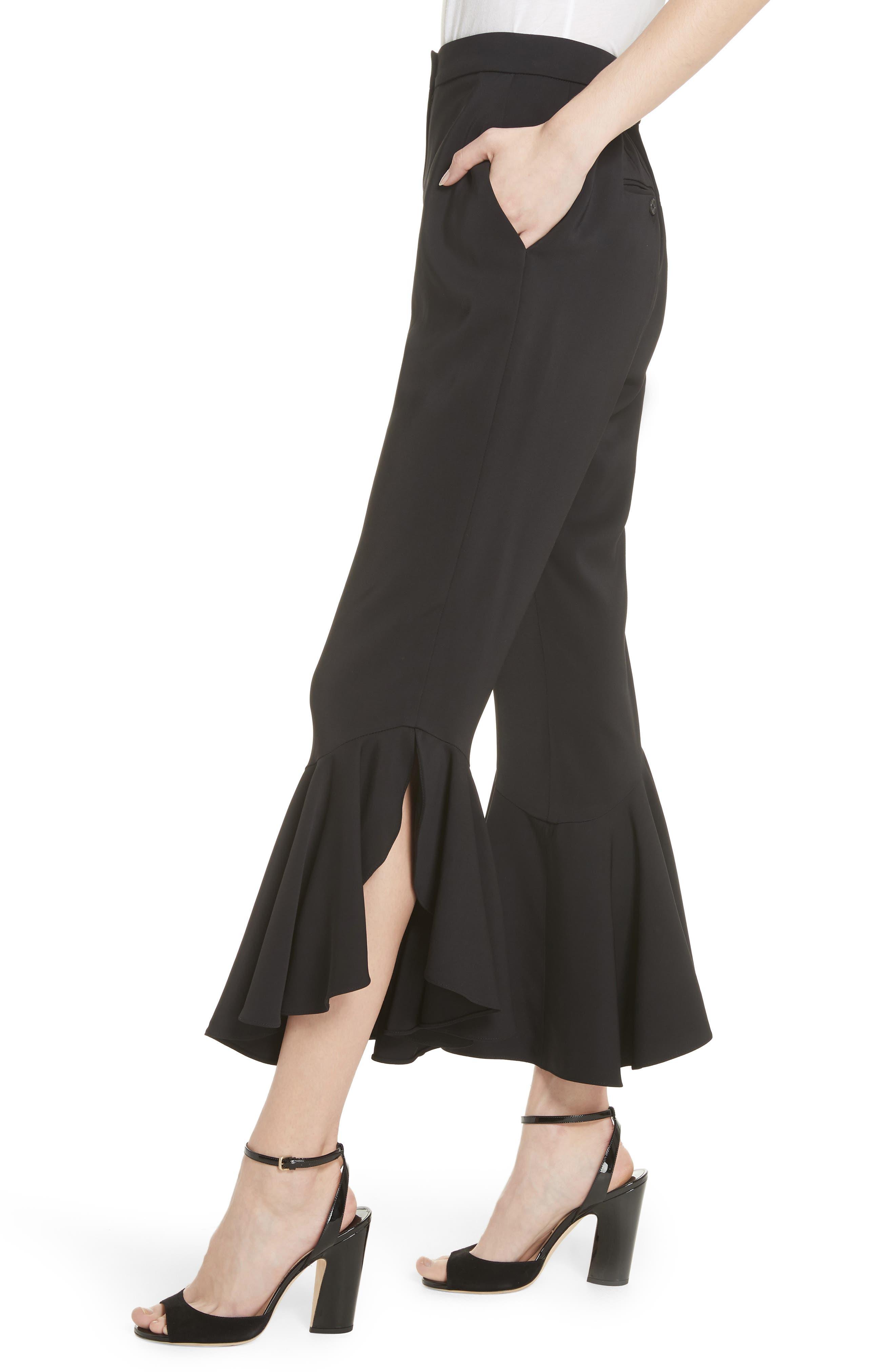 Ruffle Pants,                             Alternate thumbnail 4, color,                             Black
