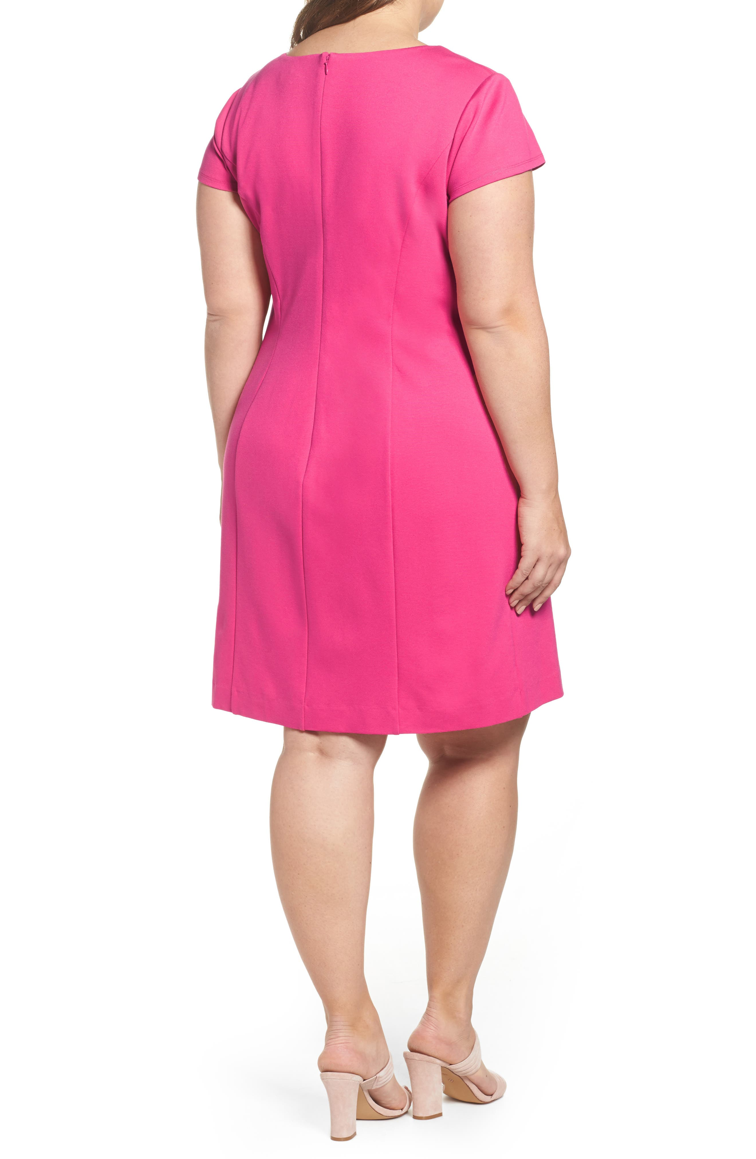 Embroidered Ponte Sheath Dress,                             Alternate thumbnail 2, color,                             Pink