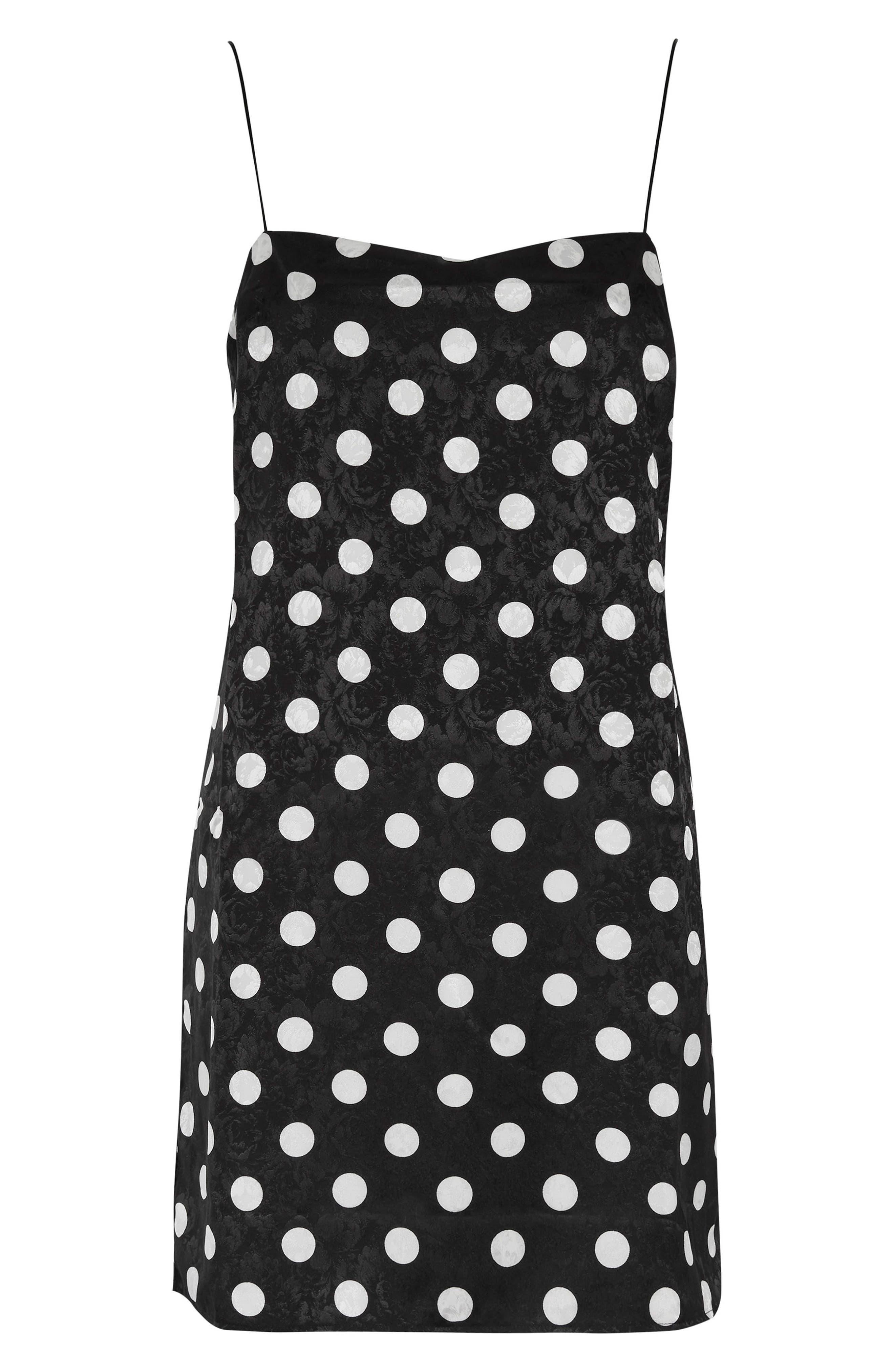 Square Neck Jacquard Mini Slipdress,                             Alternate thumbnail 6, color,                             Black Multi