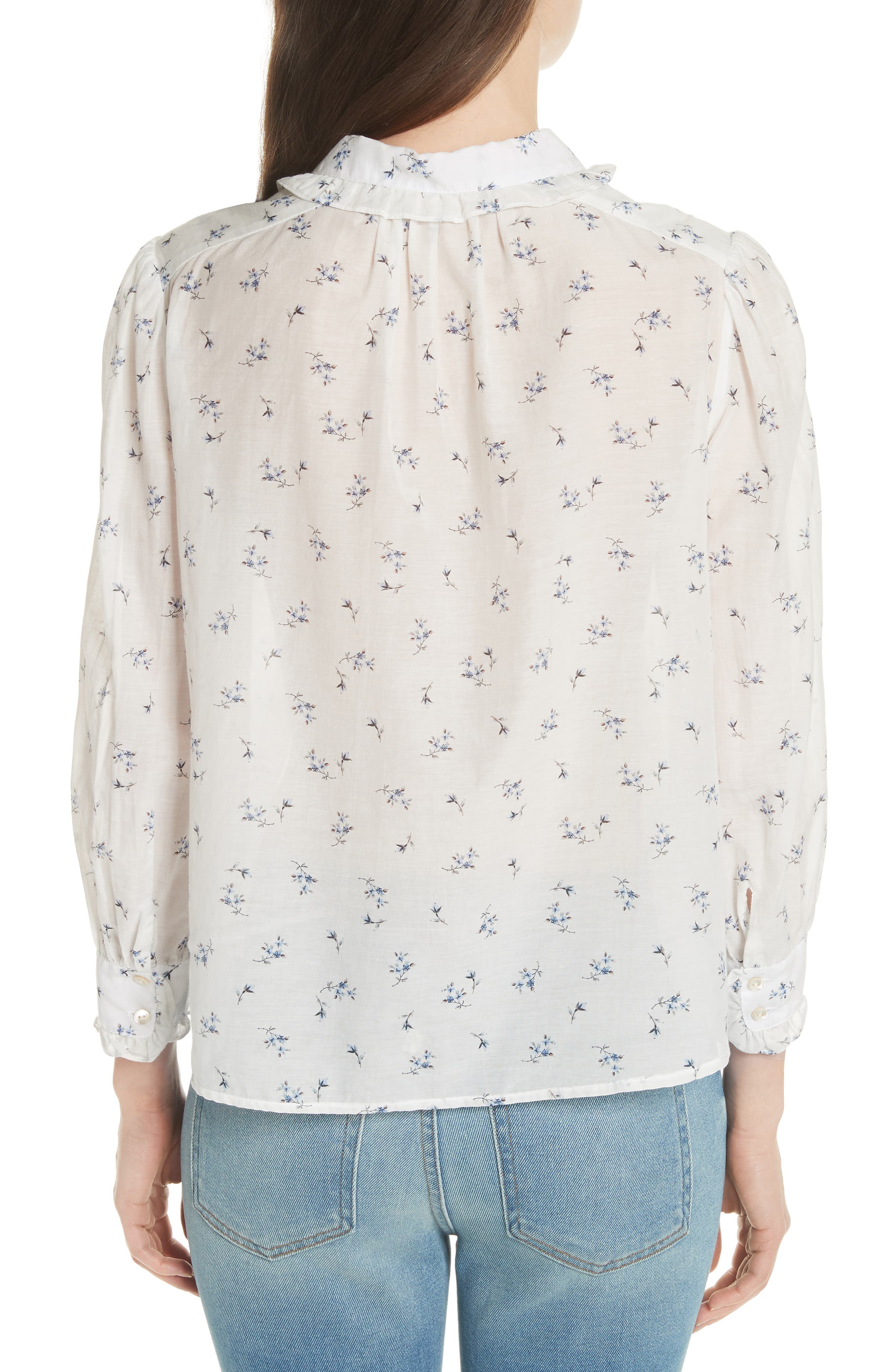 Floral Spring Blouse,                             Alternate thumbnail 2, color,                             Snow Combo