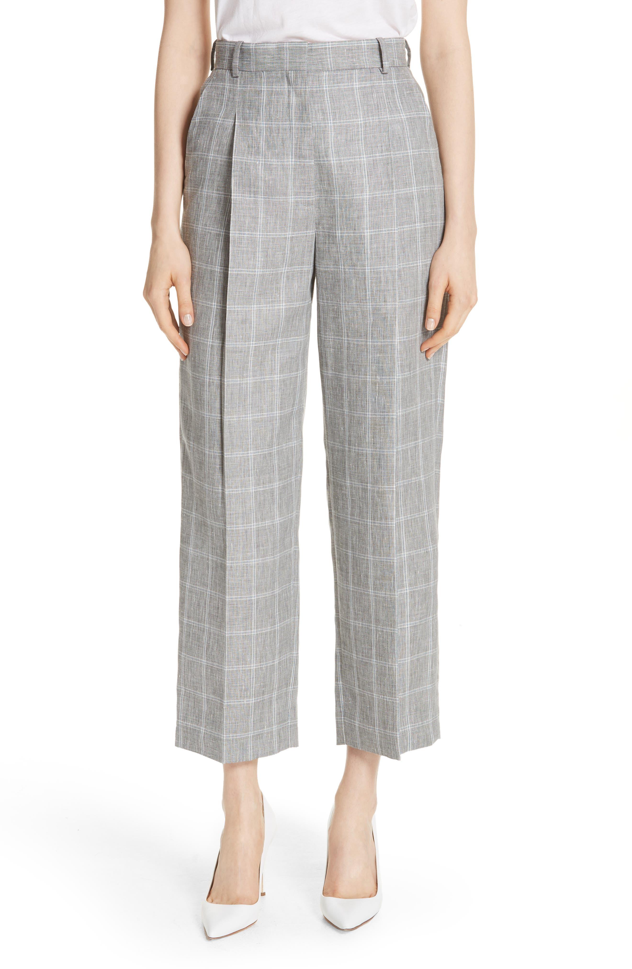 Check Wide Leg Crop Pants,                         Main,                         color, Gris