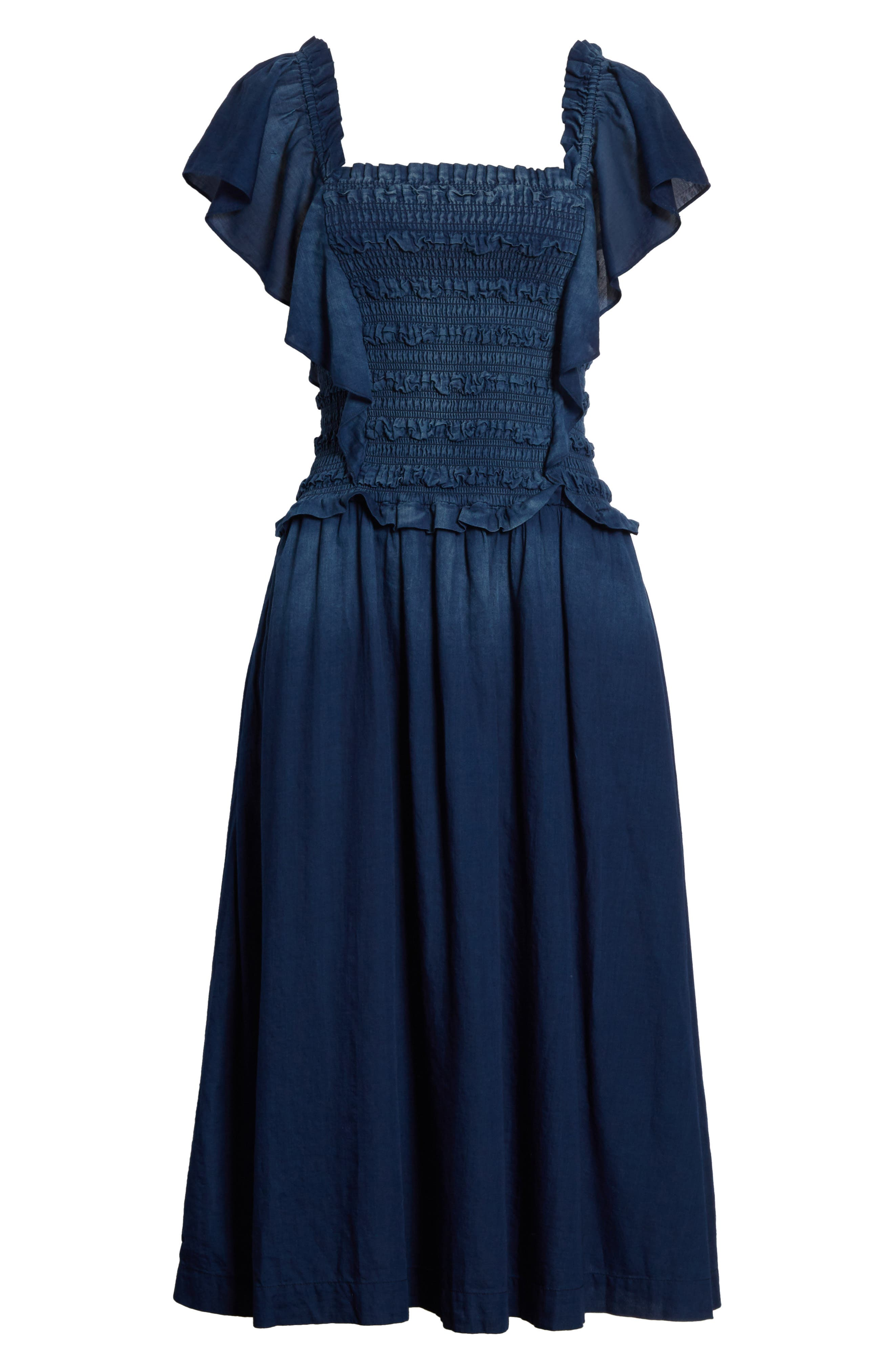 Alternate Image 6  - La Vie Rebecca Taylor Smocked Tissue Denim Dress