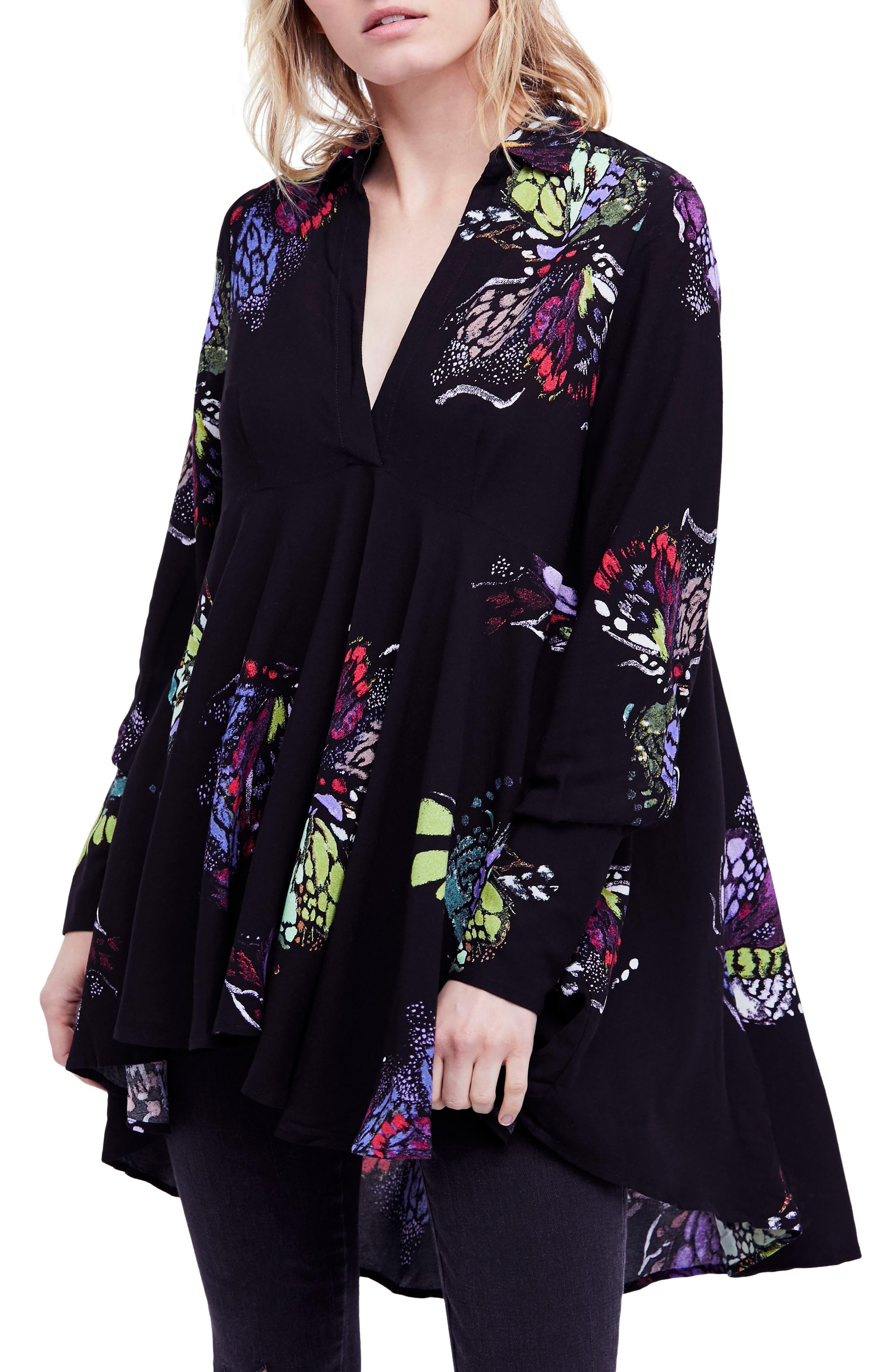Field of Butterflies Tunic,                             Main thumbnail 1, color,                             Black