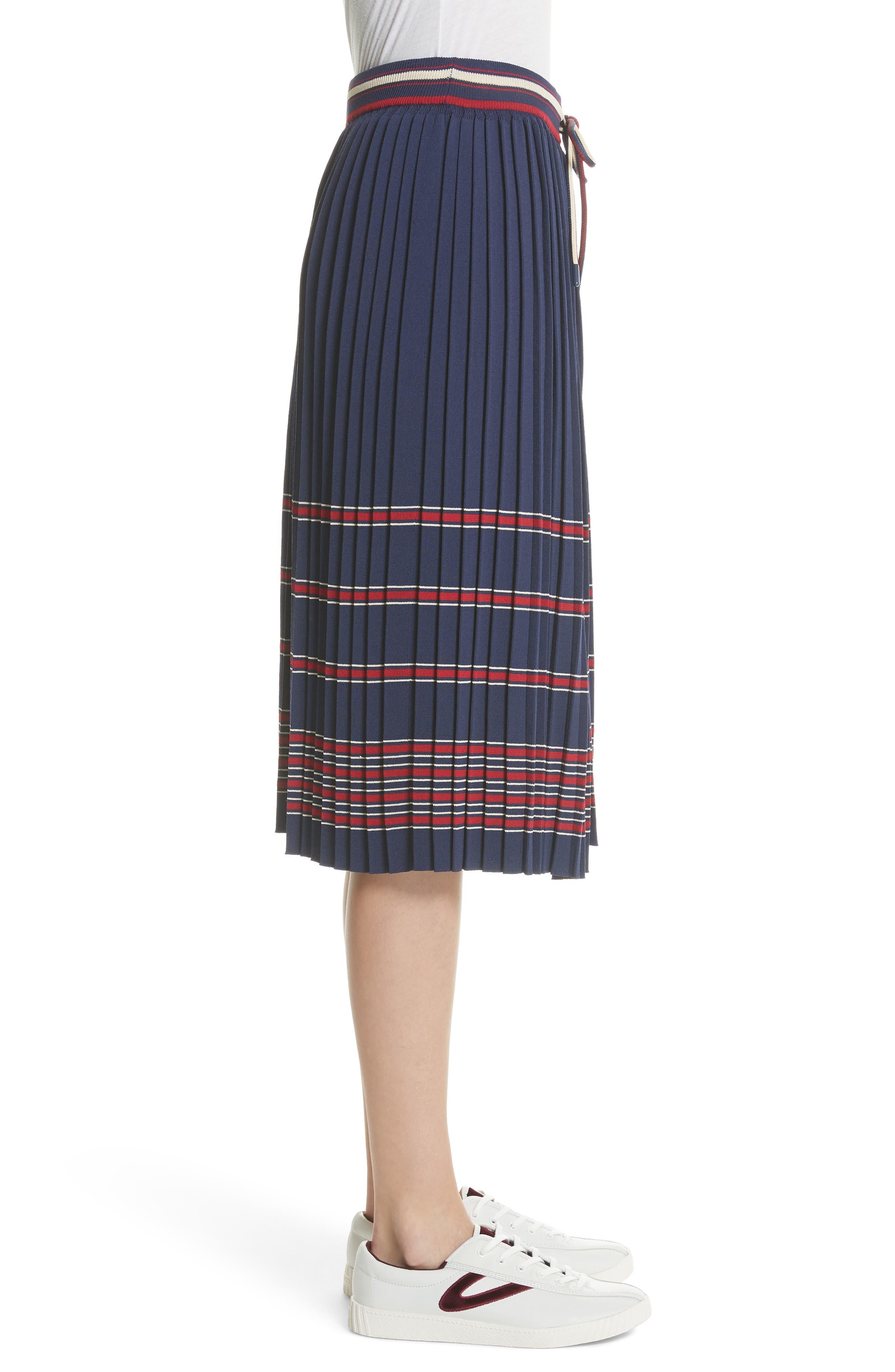 Pleated Midi Skirt,                             Alternate thumbnail 3, color,                             Navy