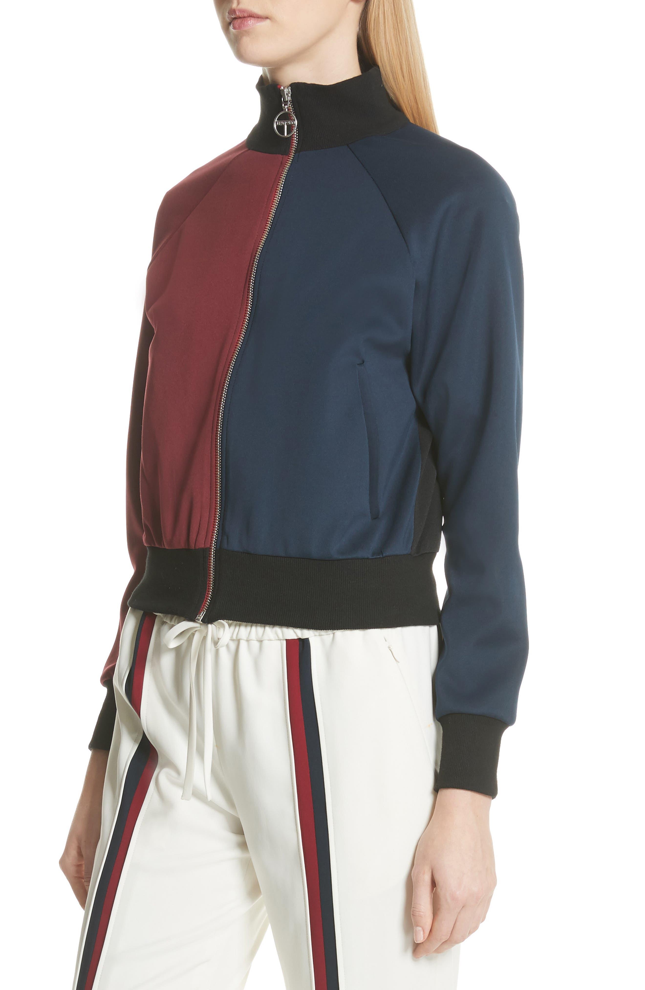 Colorblock Zip Sweatshirt,                             Alternate thumbnail 5, color,                             Bordeaux/ Navy
