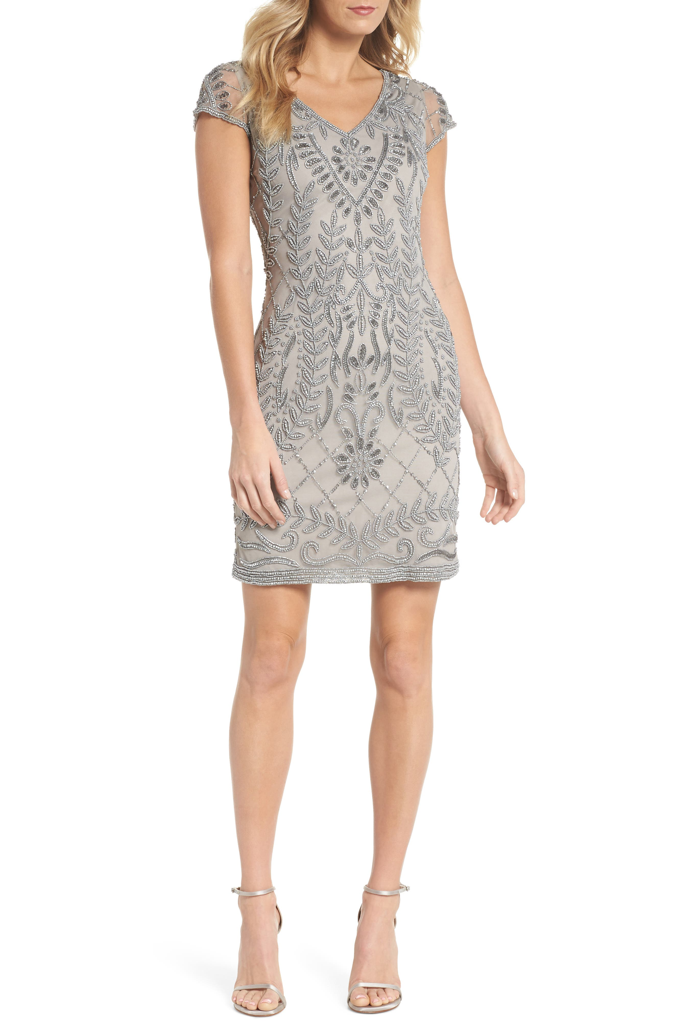 Beaded Sheath Dress,                             Main thumbnail 1, color,                             Silver
