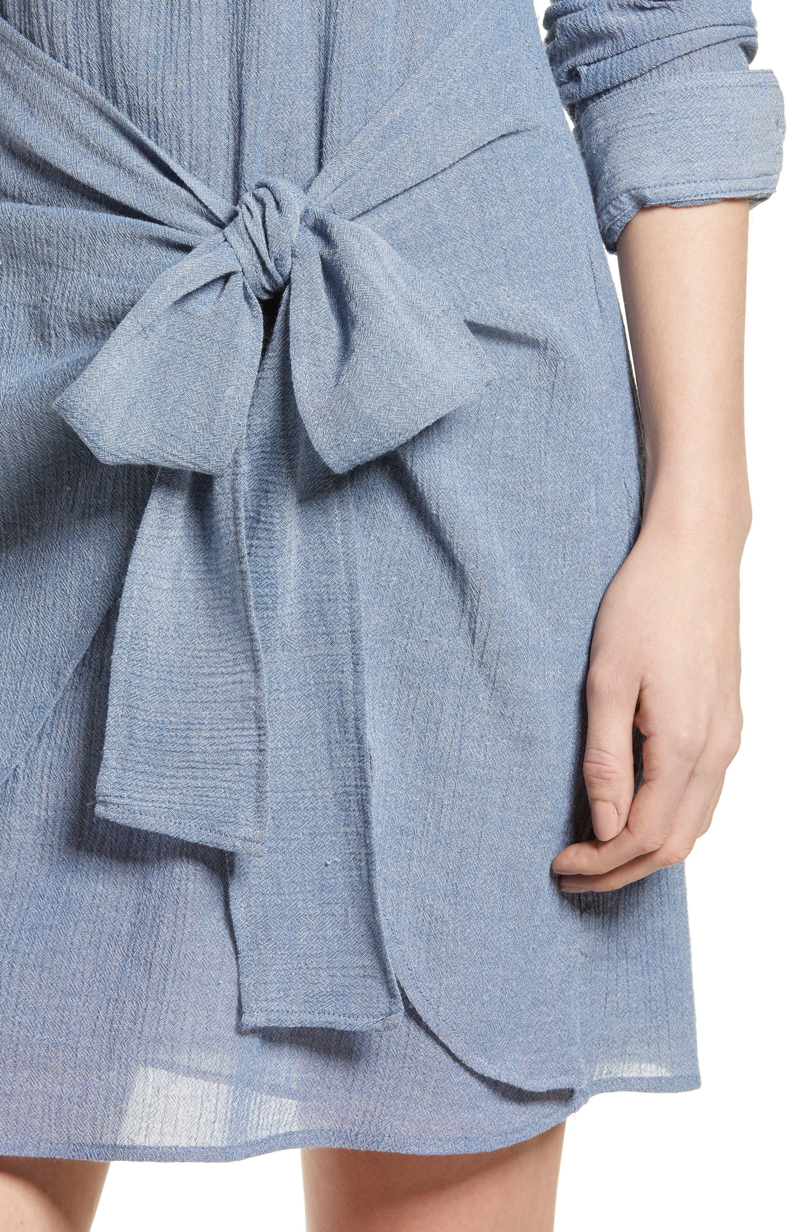Chambray Tie Waist Dress,                             Alternate thumbnail 4, color,                             Chambray