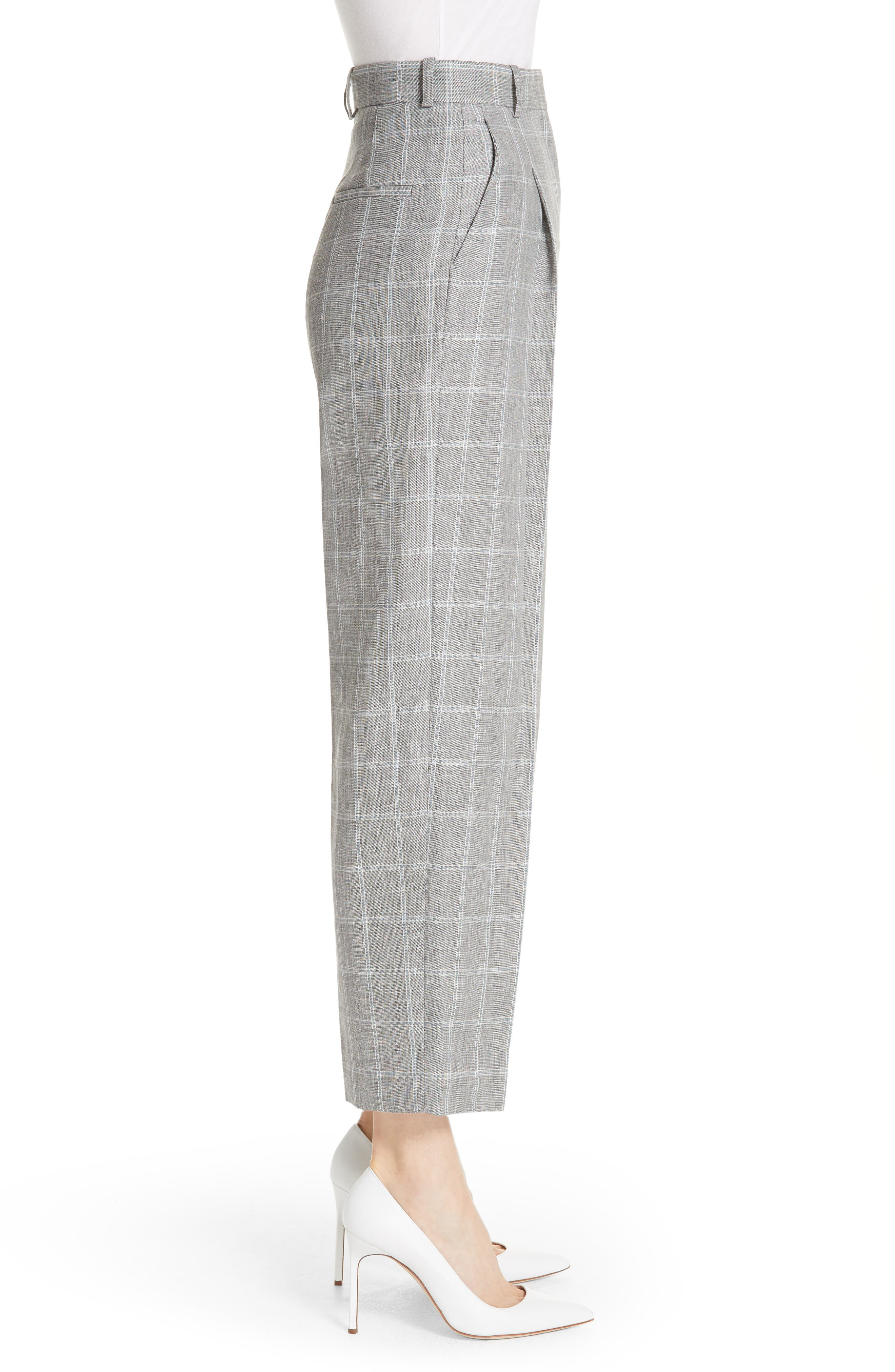 Check Wide Leg Crop Pants,                             Alternate thumbnail 3, color,                             Gris