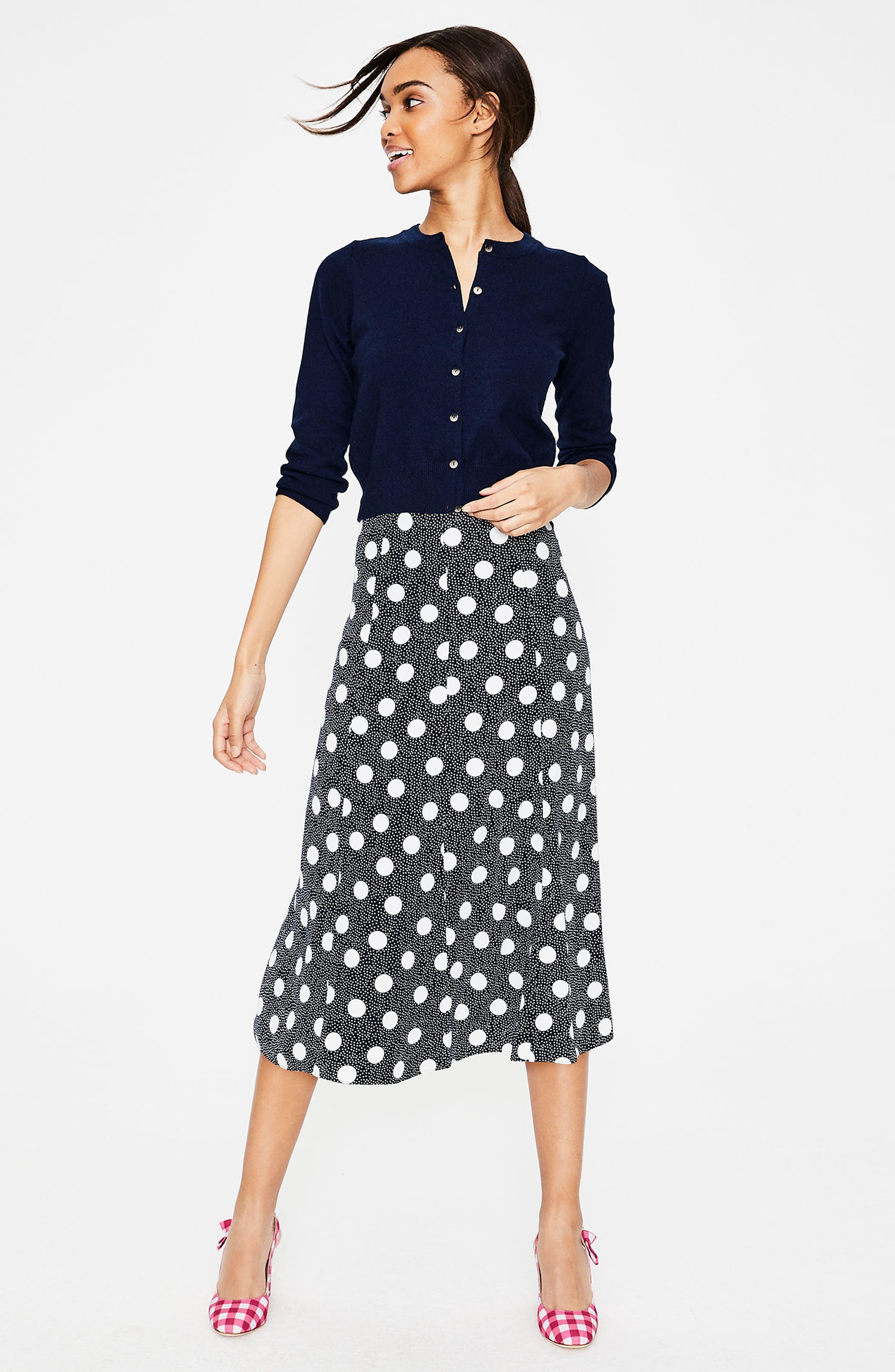 Floaty Polka Dot Midi Skirt,                             Alternate thumbnail 2, color,                             Navy Spot On Spot