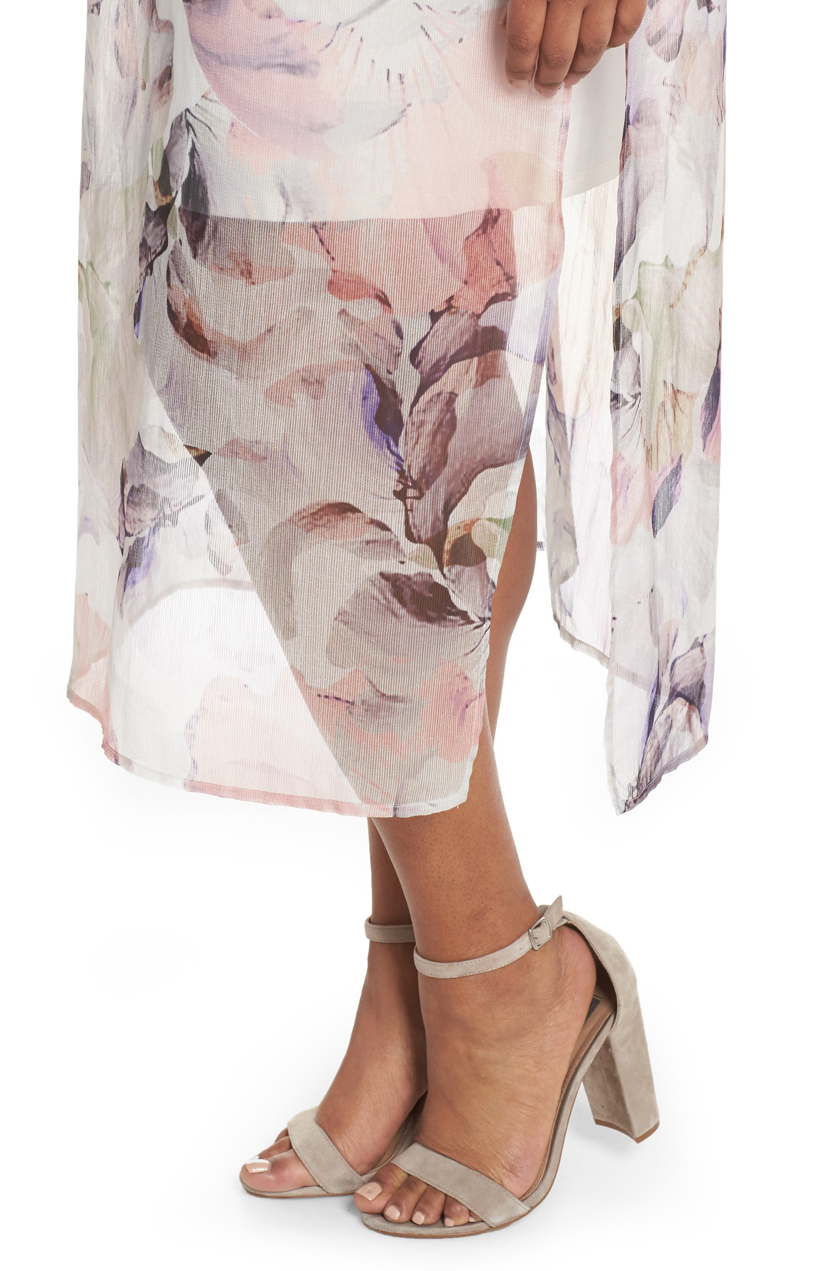 Diffused Blooms Overlay Midi Dress,                             Alternate thumbnail 4, color,                             New Ivory