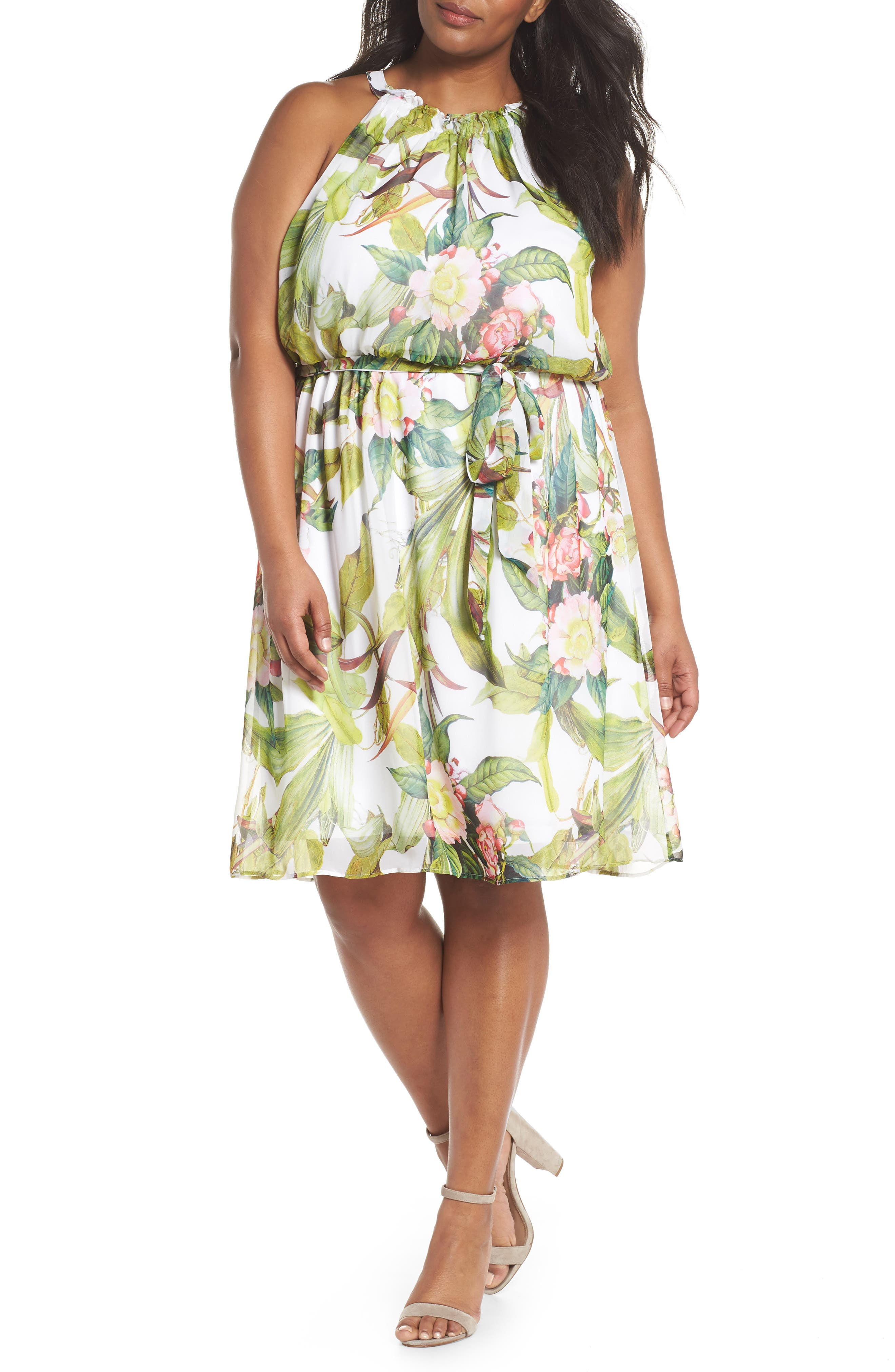 Adrianne Papell Tahitian Tropics Blouson Halter Dress,                         Main,                         color, Ivory Multi