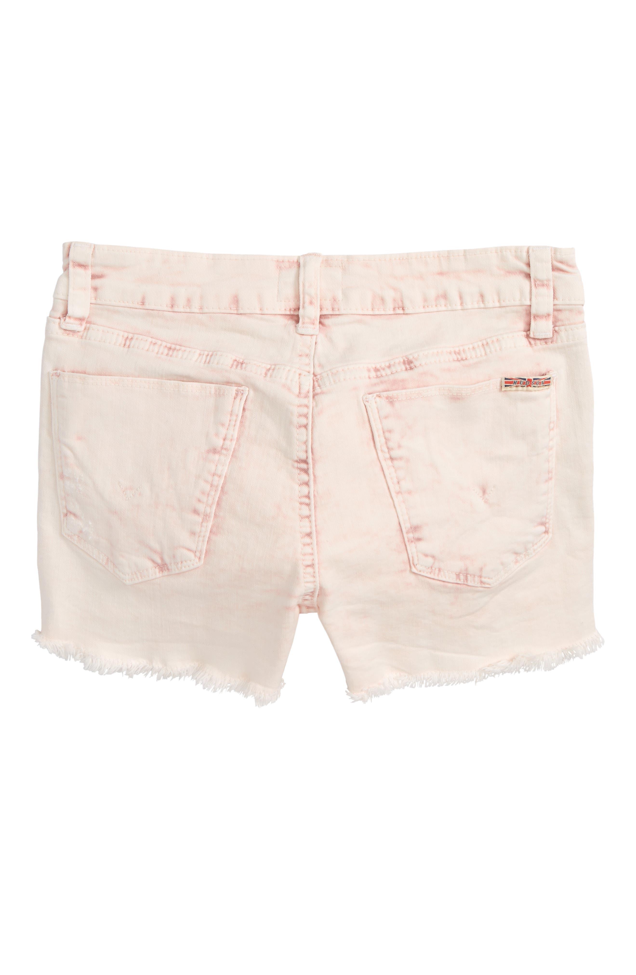Frayed Acid Wash Shorts,                             Alternate thumbnail 2, color,                             Pink Coral Acid Wash