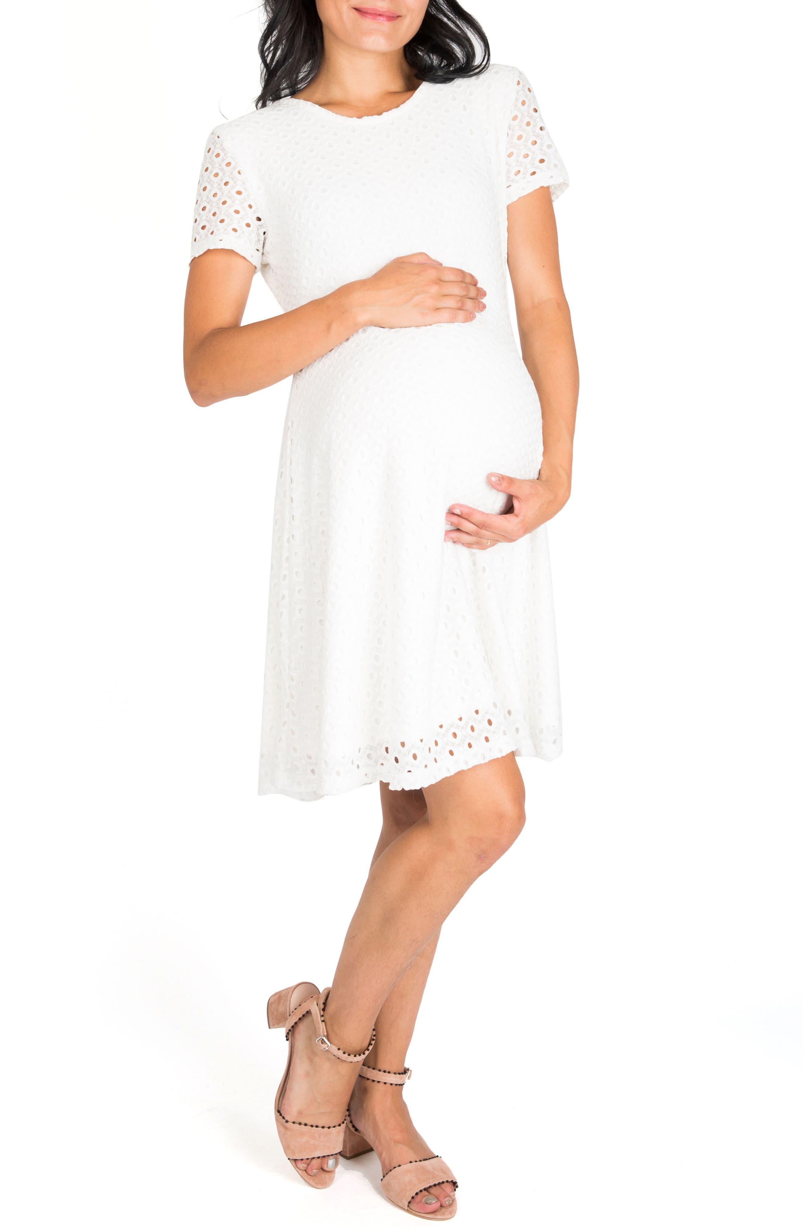 Georgia Maternity Eyelet Dress,                         Main,                         color, White Lace
