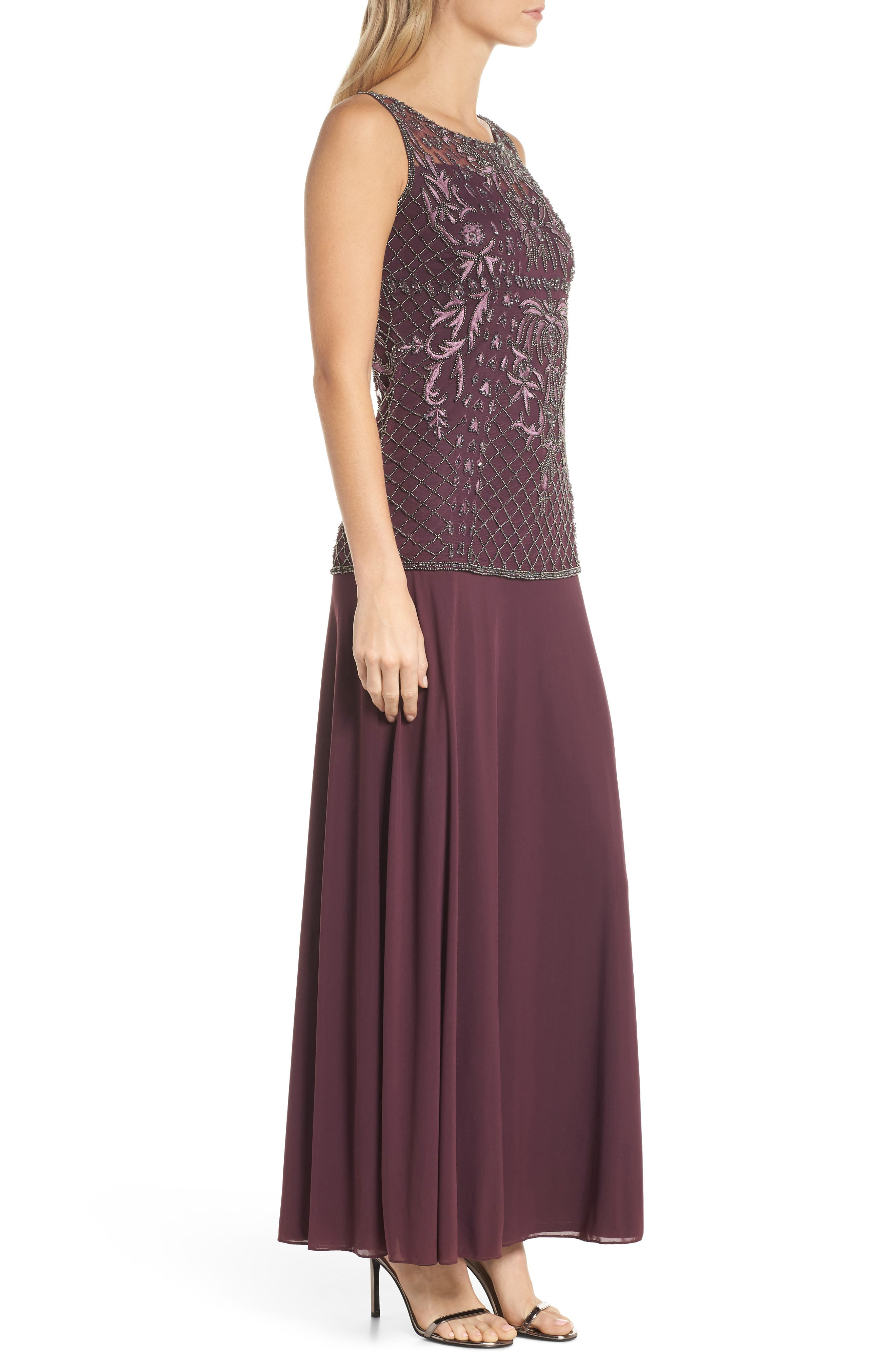 Beaded Bodice Mock Two-Piece Gown,                             Alternate thumbnail 3, color,                             Plum