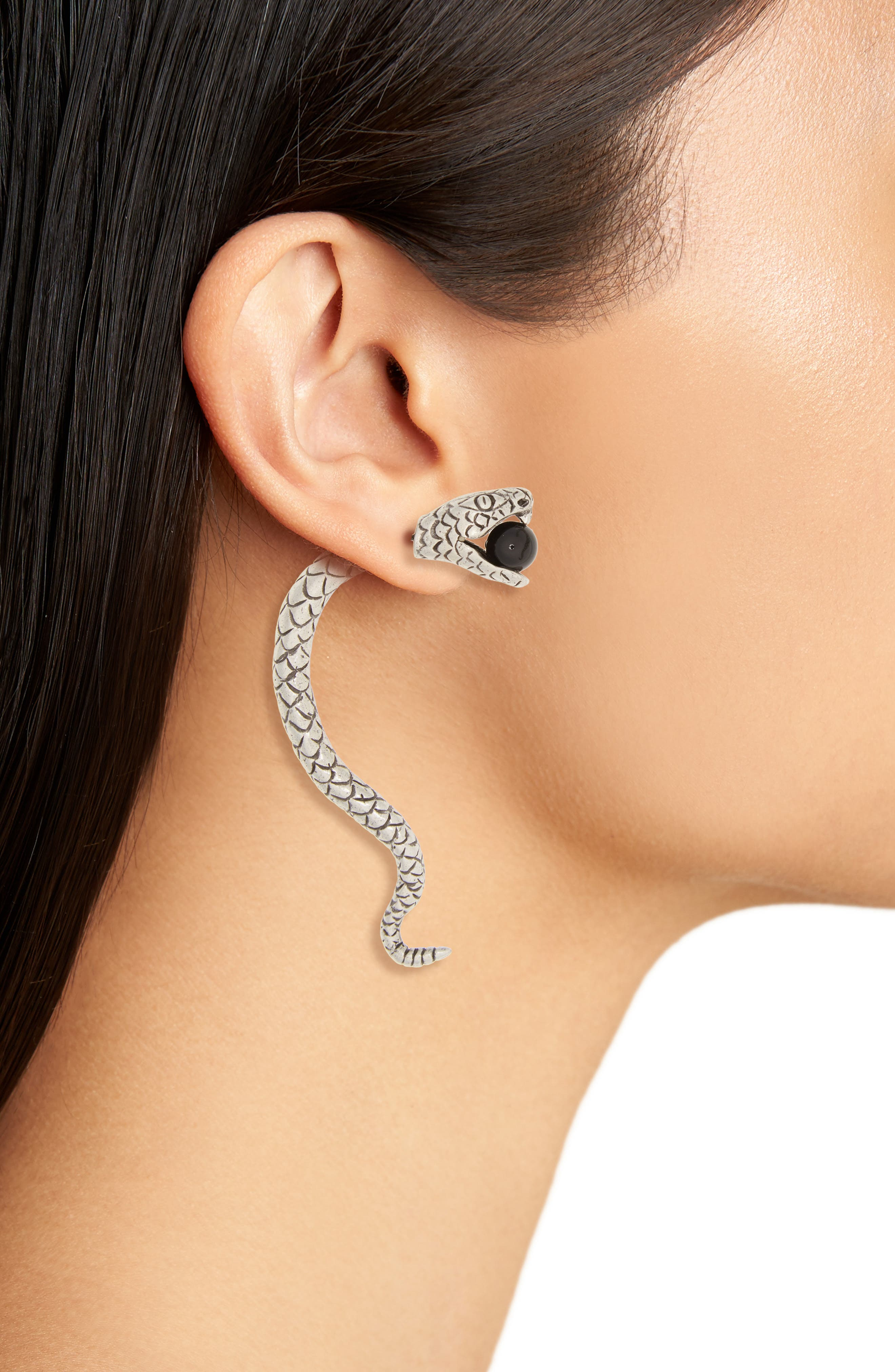 Serpent Front/Back Earrings,                             Alternate thumbnail 2, color,                             Gris/ Nero
