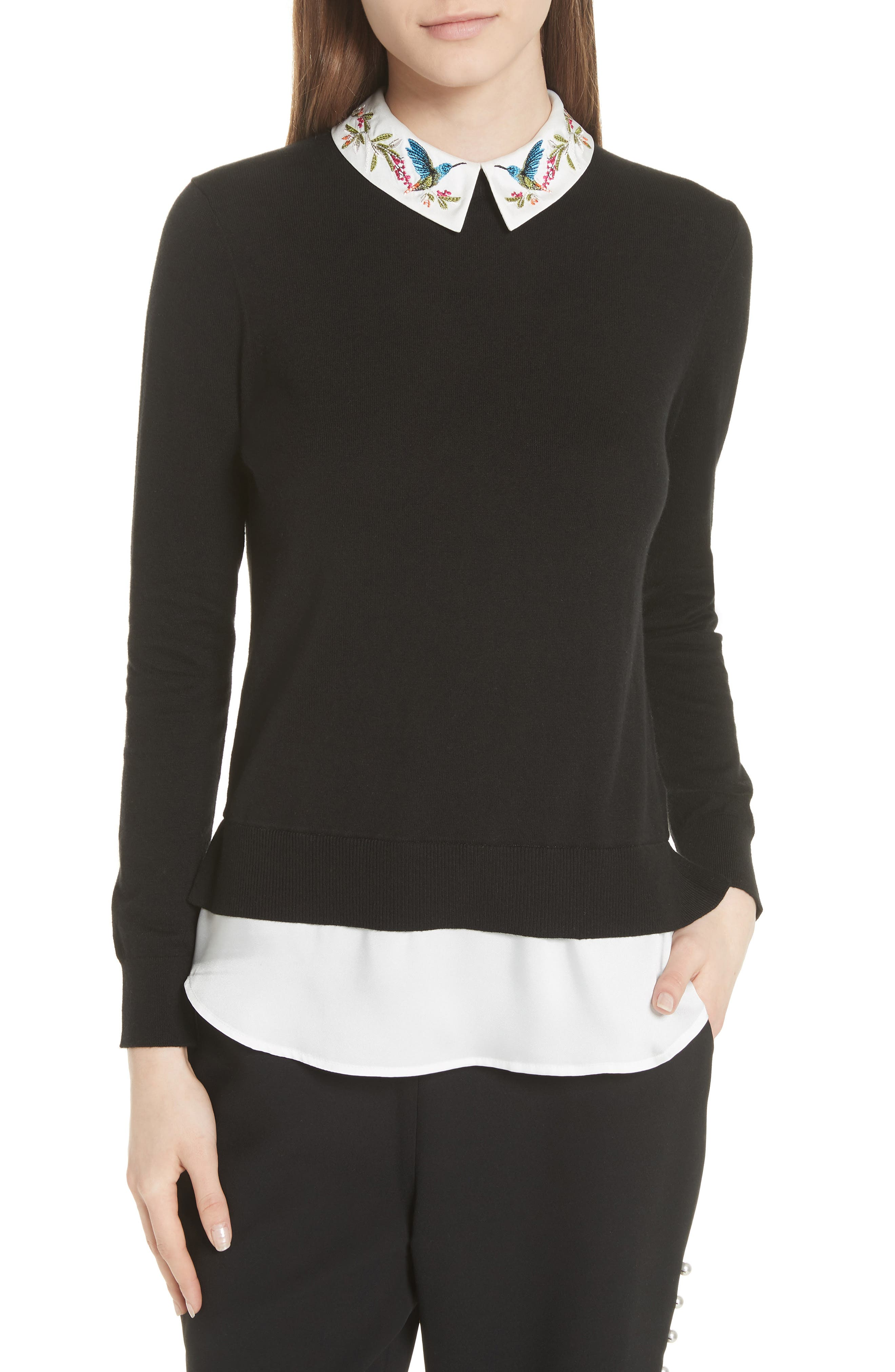 Highgrove Layered Look Sweater,                             Main thumbnail 1, color,                             Black