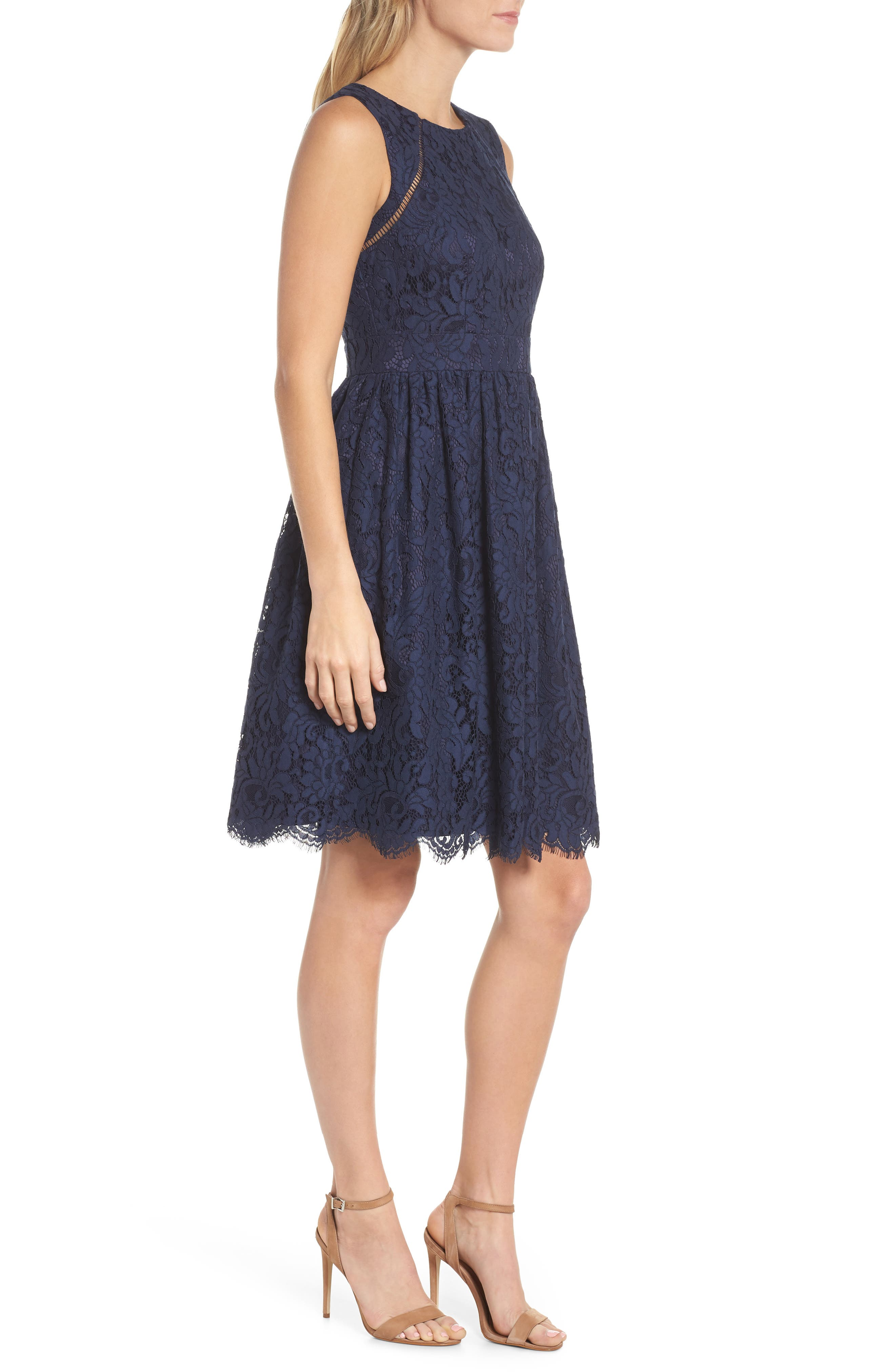 Sleeveless Lace Fit & Flare Dress,                             Alternate thumbnail 3, color,                             Navy