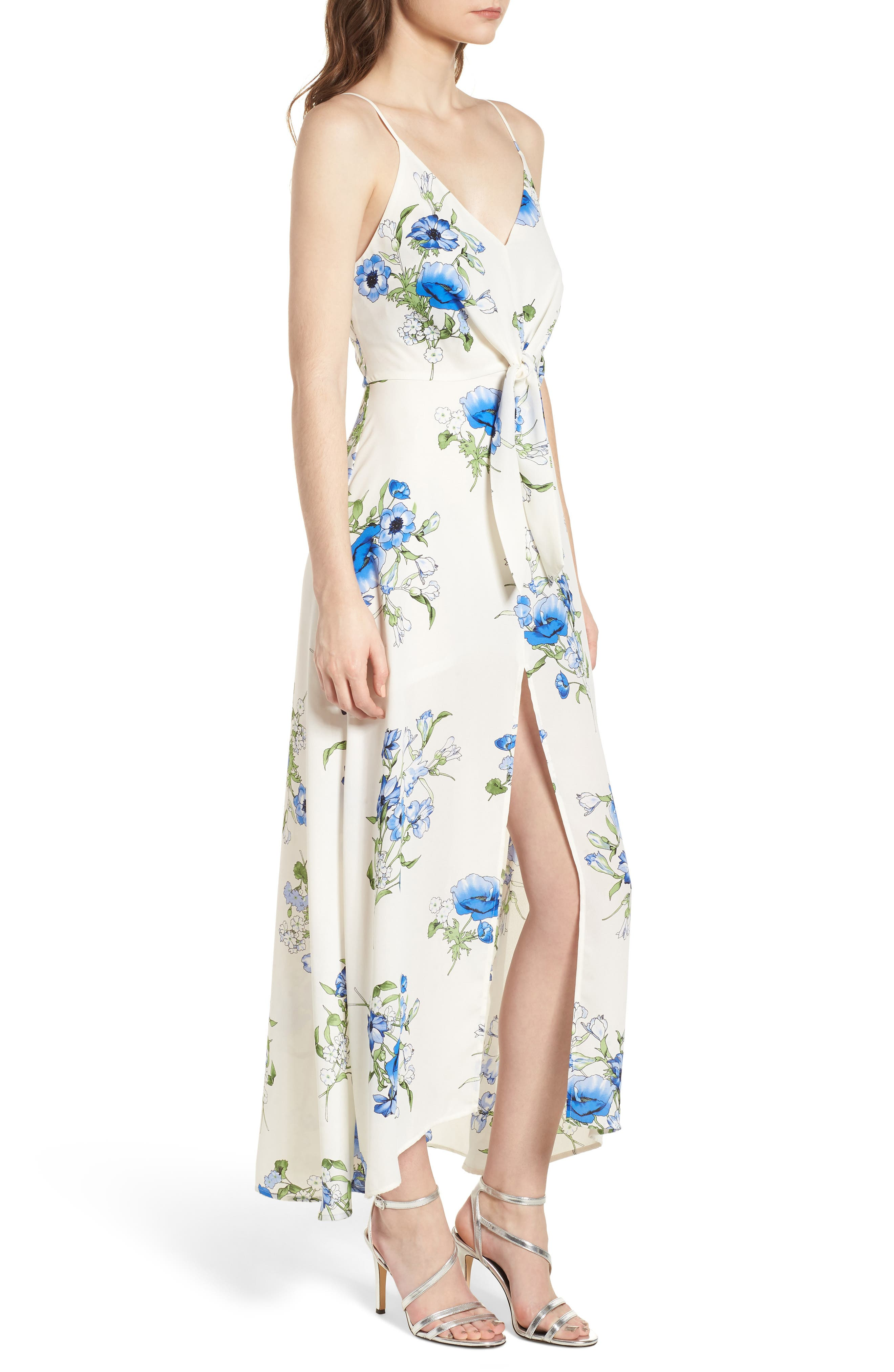 Floral Print Maxi Dress,                             Alternate thumbnail 3, color,                             Ivory Floral