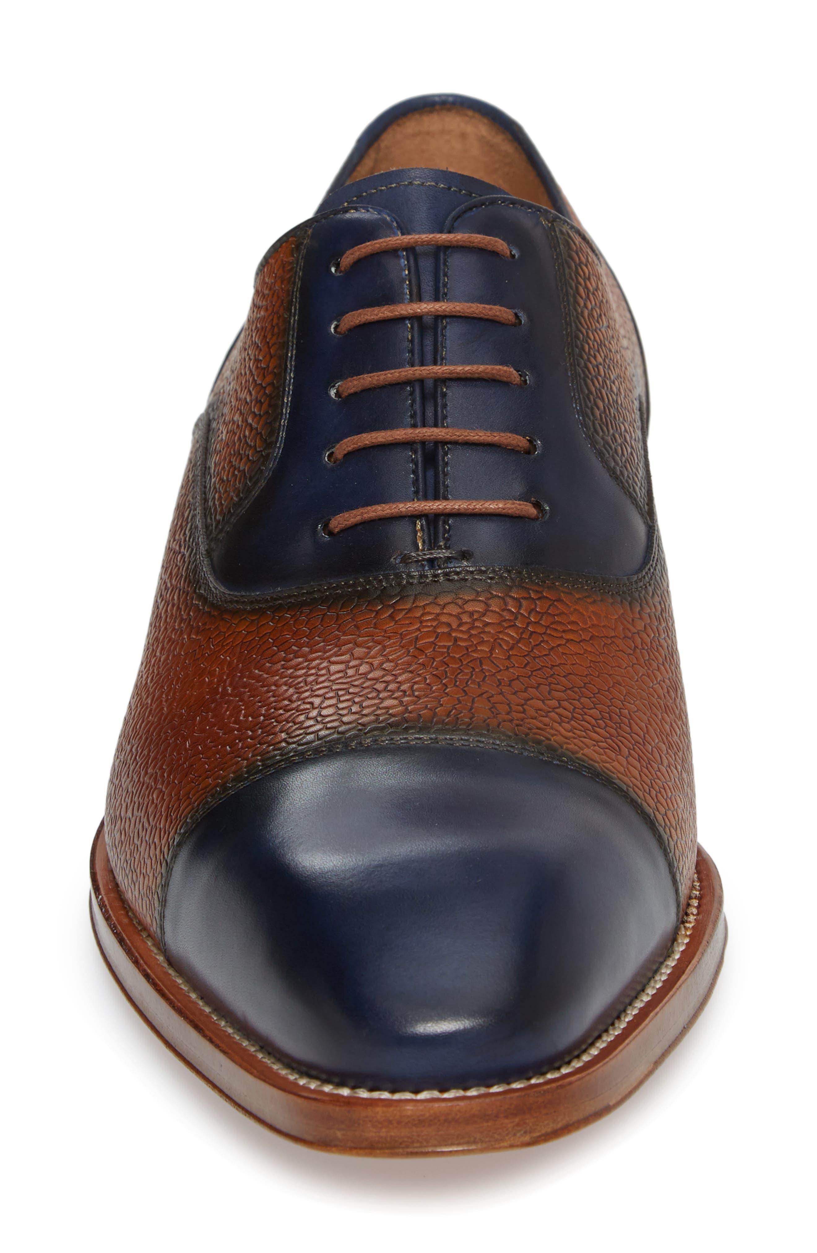Verino Cap Toe Oxford,                             Alternate thumbnail 4, color,                             Blue/ Tan Leather