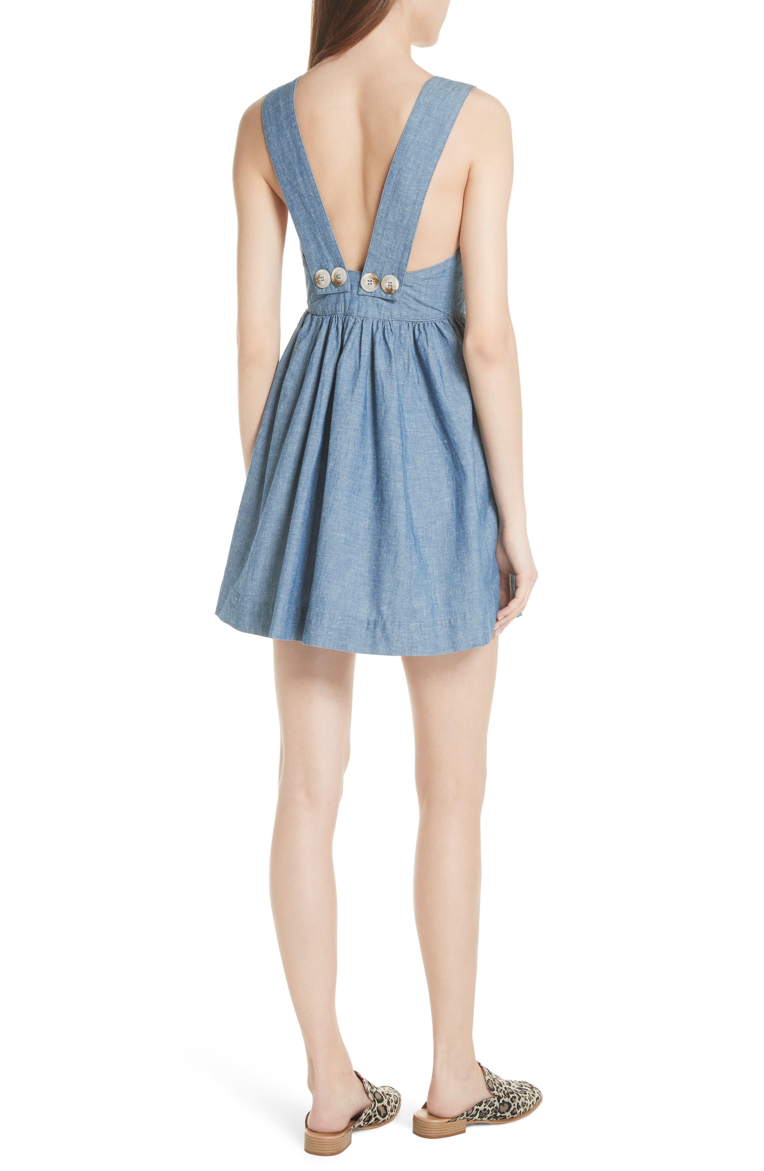 Carolina Chambray Minidress,                             Alternate thumbnail 2, color,                             Blue