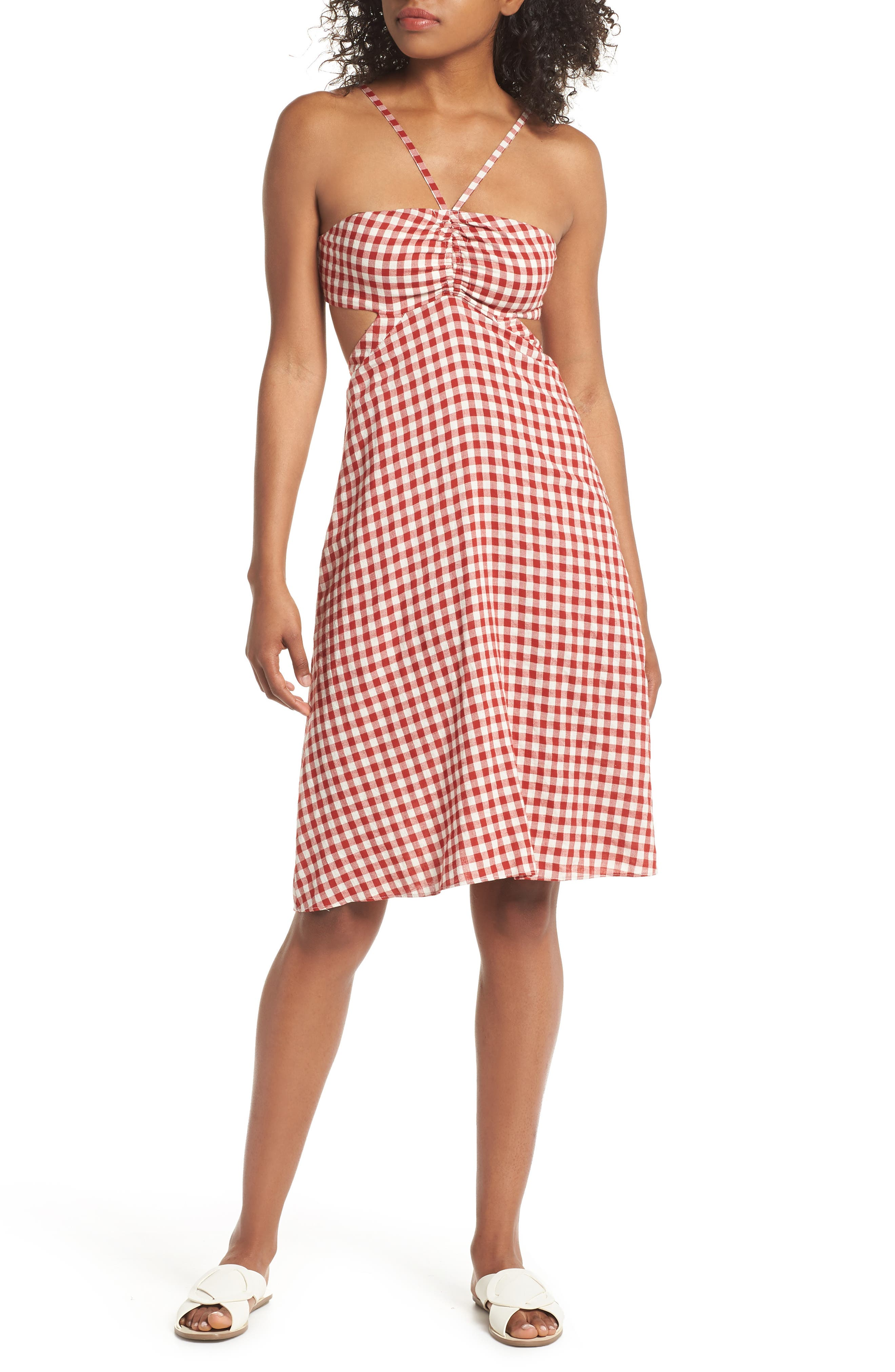 Gingham Bandeau Dress,                             Main thumbnail 1, color,                             Red-White