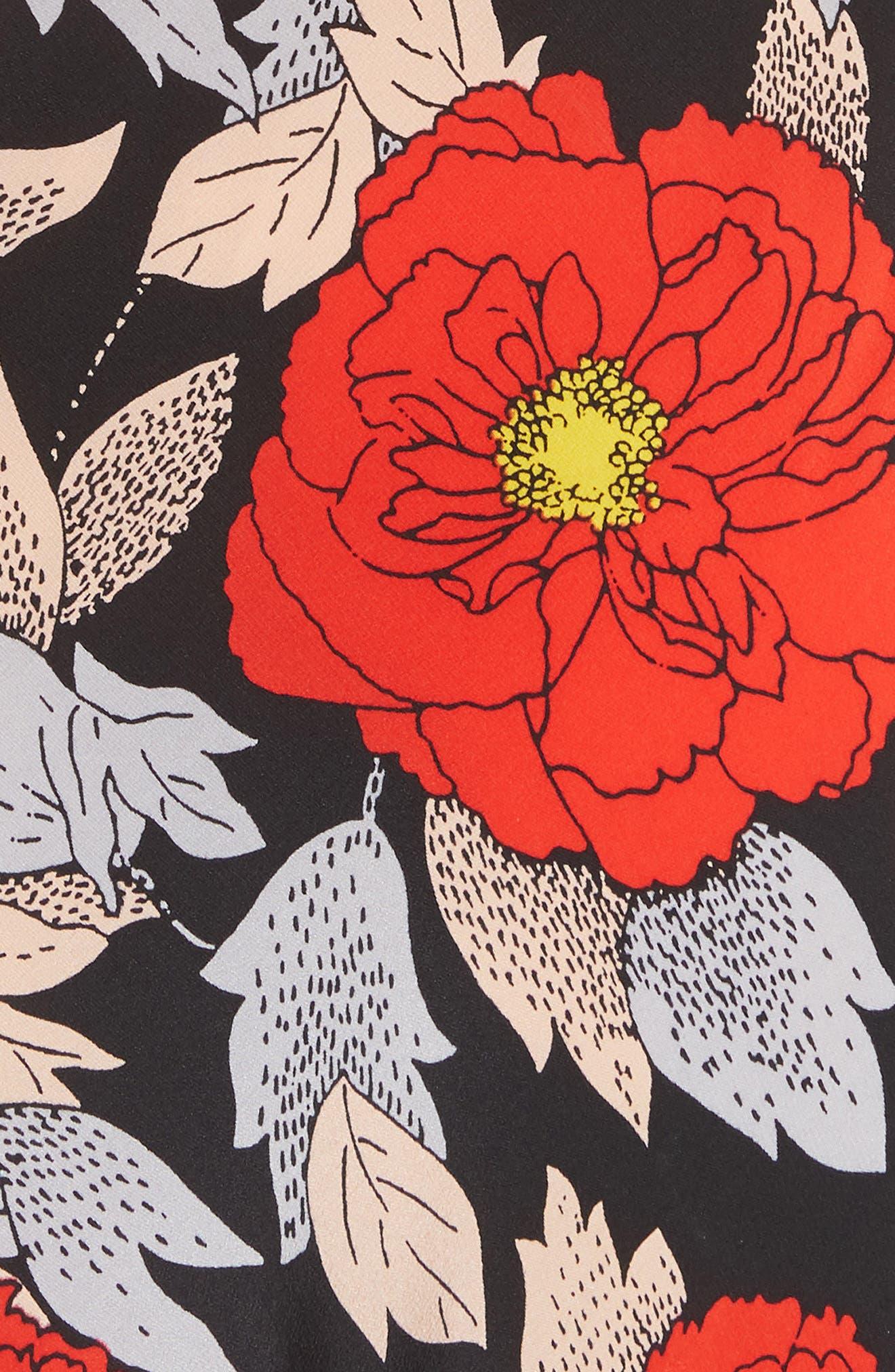 Waist Tie Silk Maxi Dress,                             Alternate thumbnail 5, color,                             Boswell Black