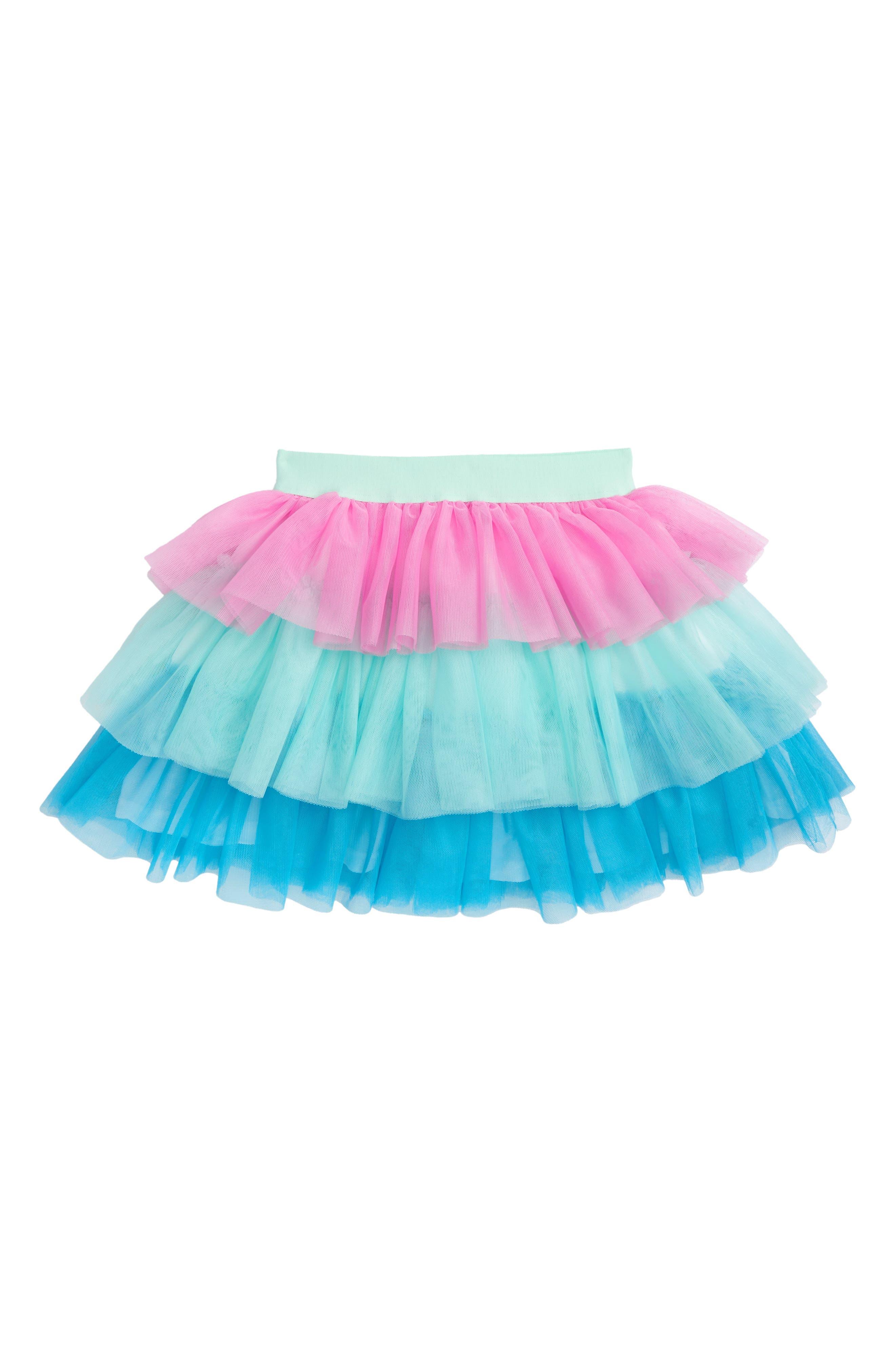 Colorblock Tiered Tulle Skirt,                             Main thumbnail 1, color,                             Aqua Multi